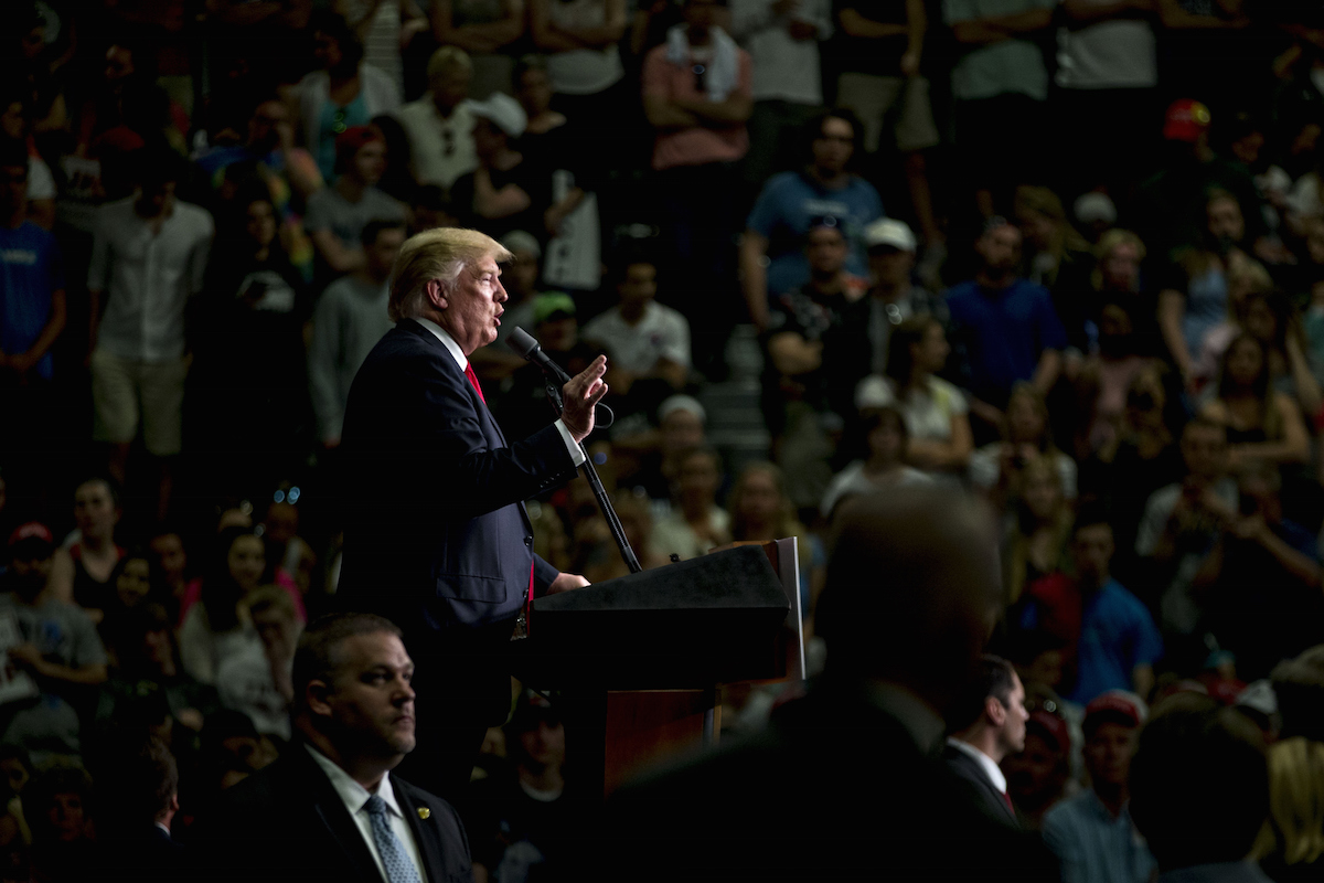 Donald Trump speaks during a campaign rally at West Chester University in West Chester, Penn., on April 25, 2016.