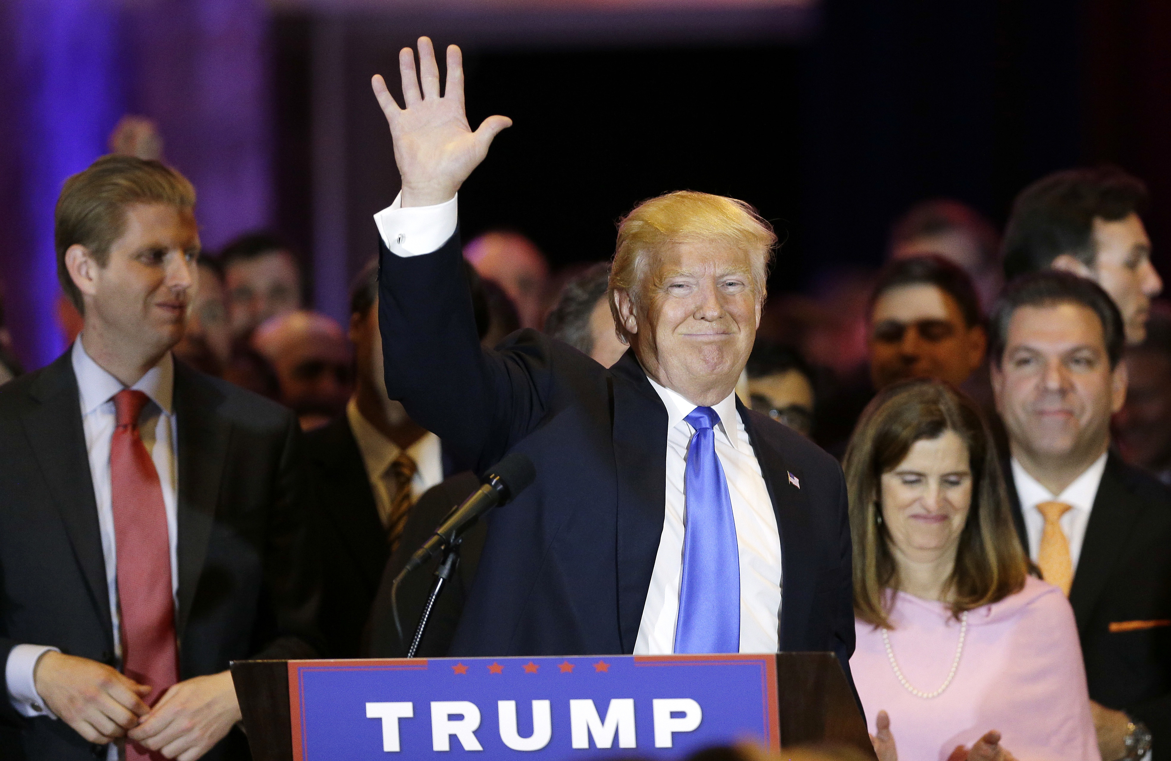 Donald Trump waves after speaking during a primary night event in New York, on April 26, 2016.