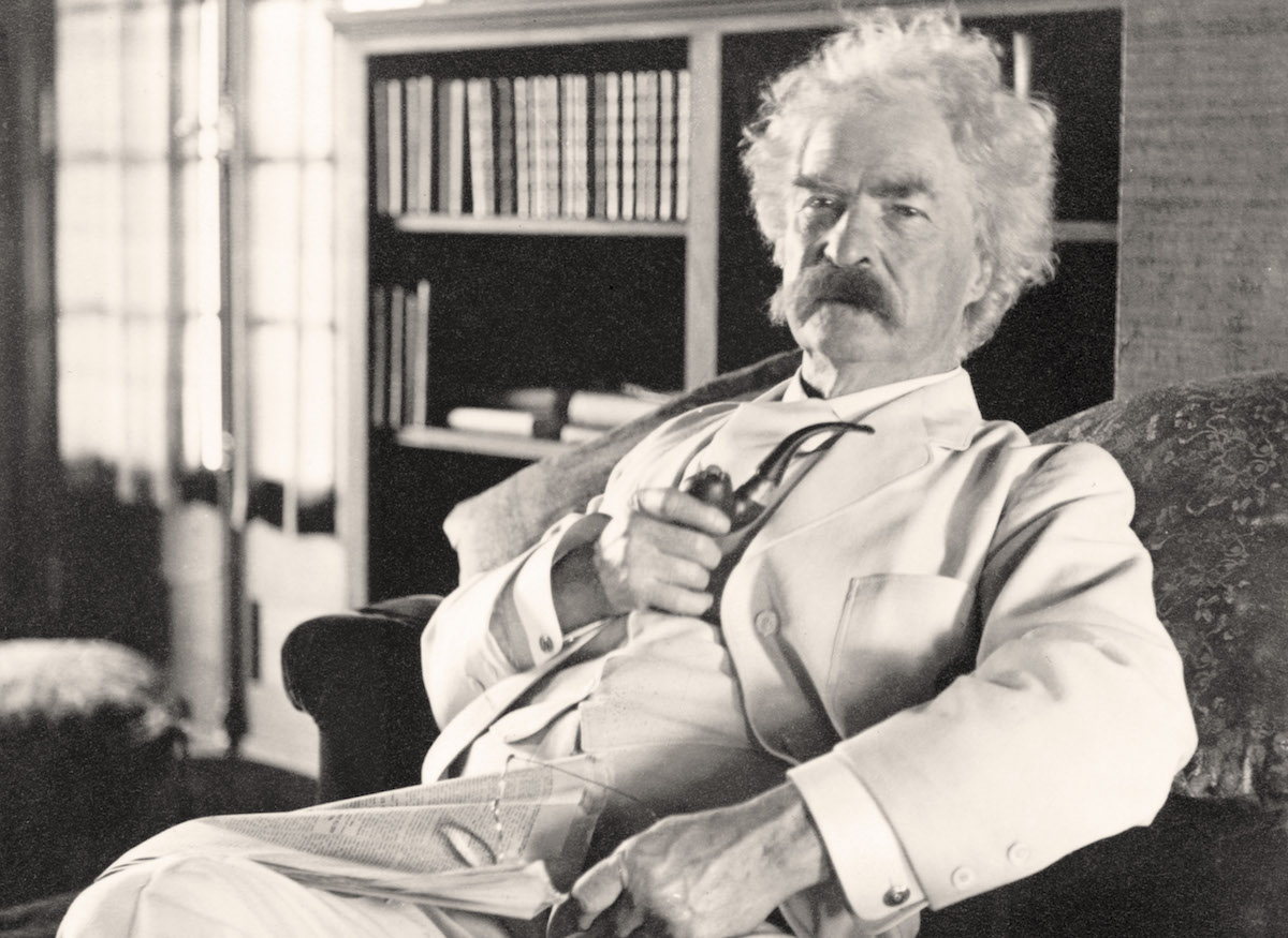 An undated portrait of an elderly Mark Twain