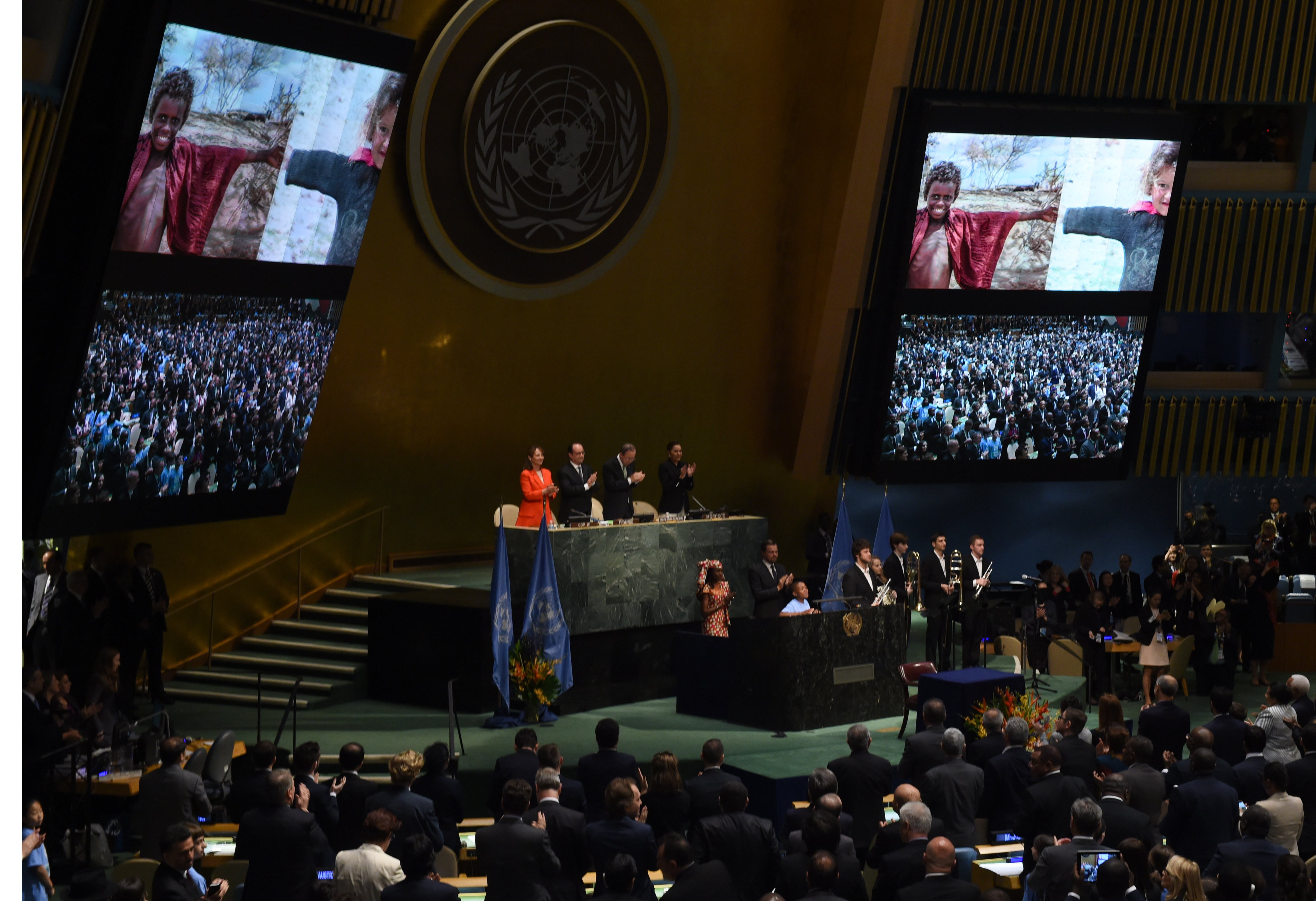 A scene from the signature ceremony for the Paris Agreement at  the United Nations on April 22, 2016 in New York.