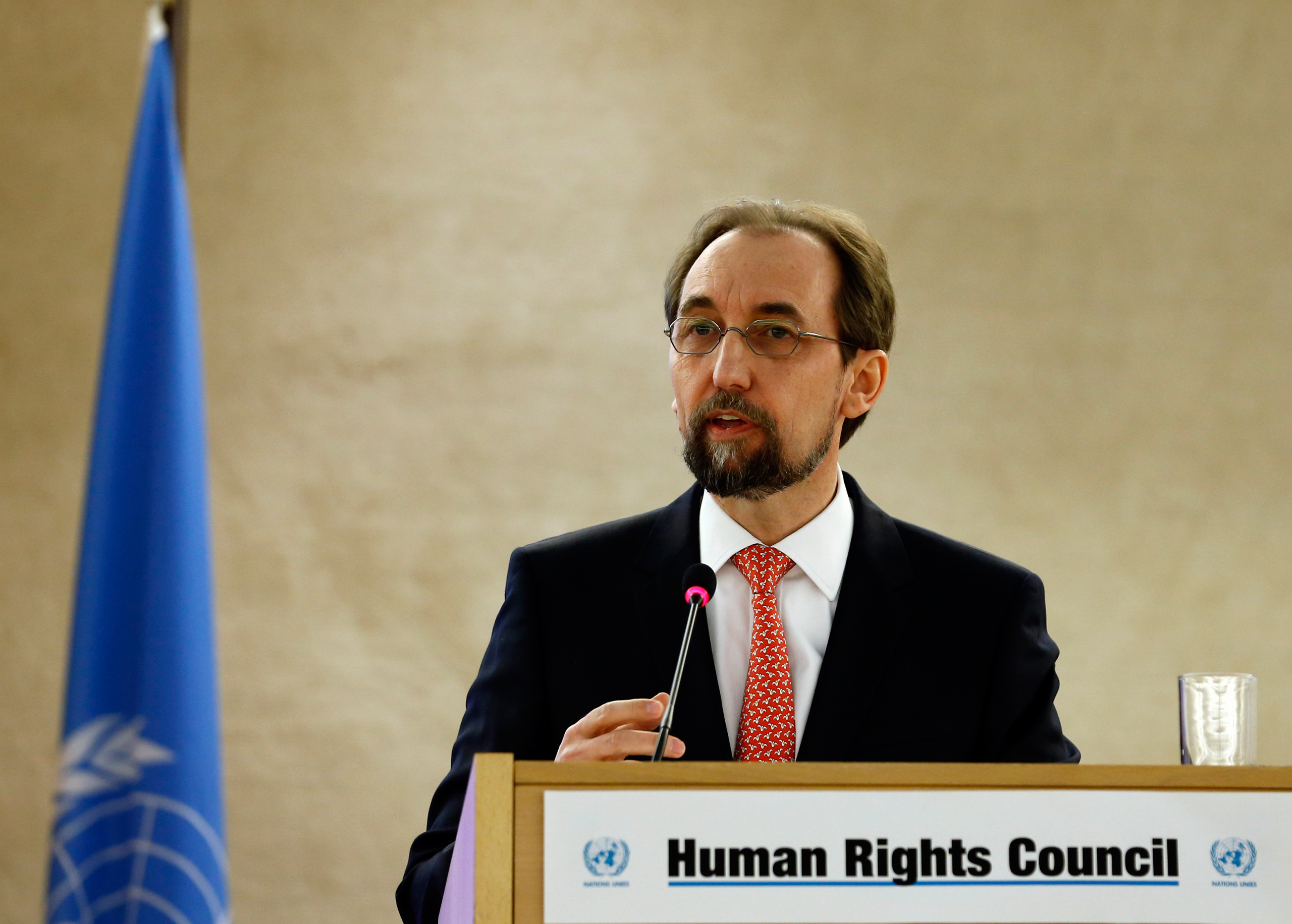 United Nations High Commissioner for Human Rights Zeid Ra'ad Al Hussein addresses the 31st session of the Human Rights Council at the U.N. European headquarters in Geneva on Feb. 29, 2016.