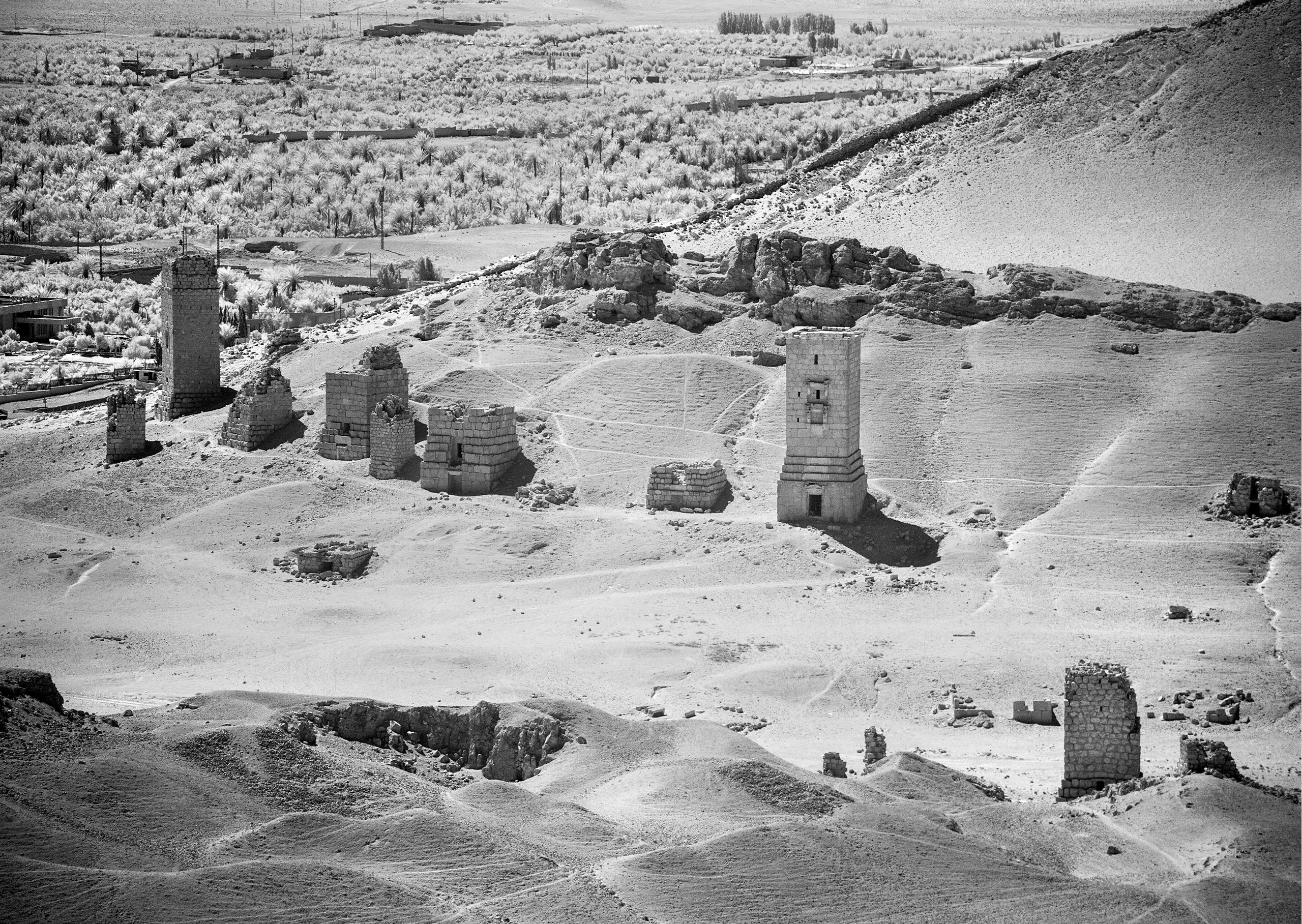 The Valley of the Tombs in Palmyra contains numerous tower tombs mostly dating from the first century AD.