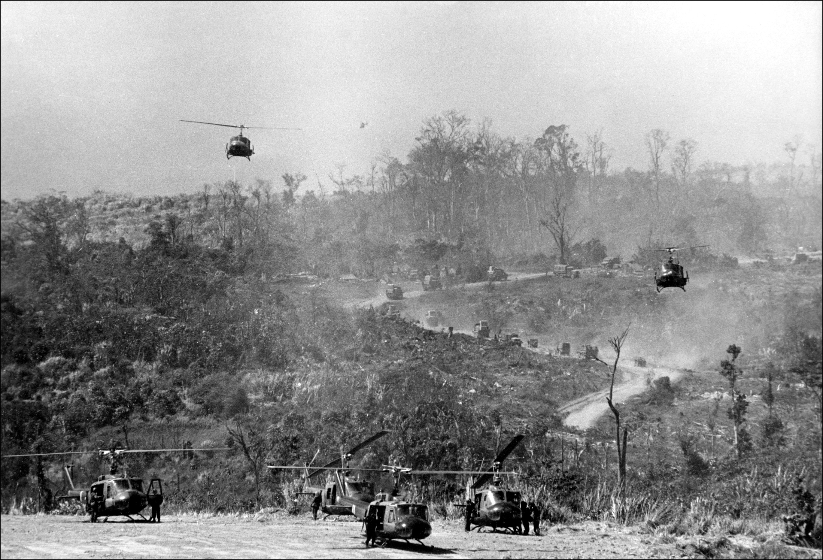 American helicopters land at Khe Sanh base on the Laos border on Feb. 1, 1971 after it was  reactivated  following a Vitcong offensive in Laos.