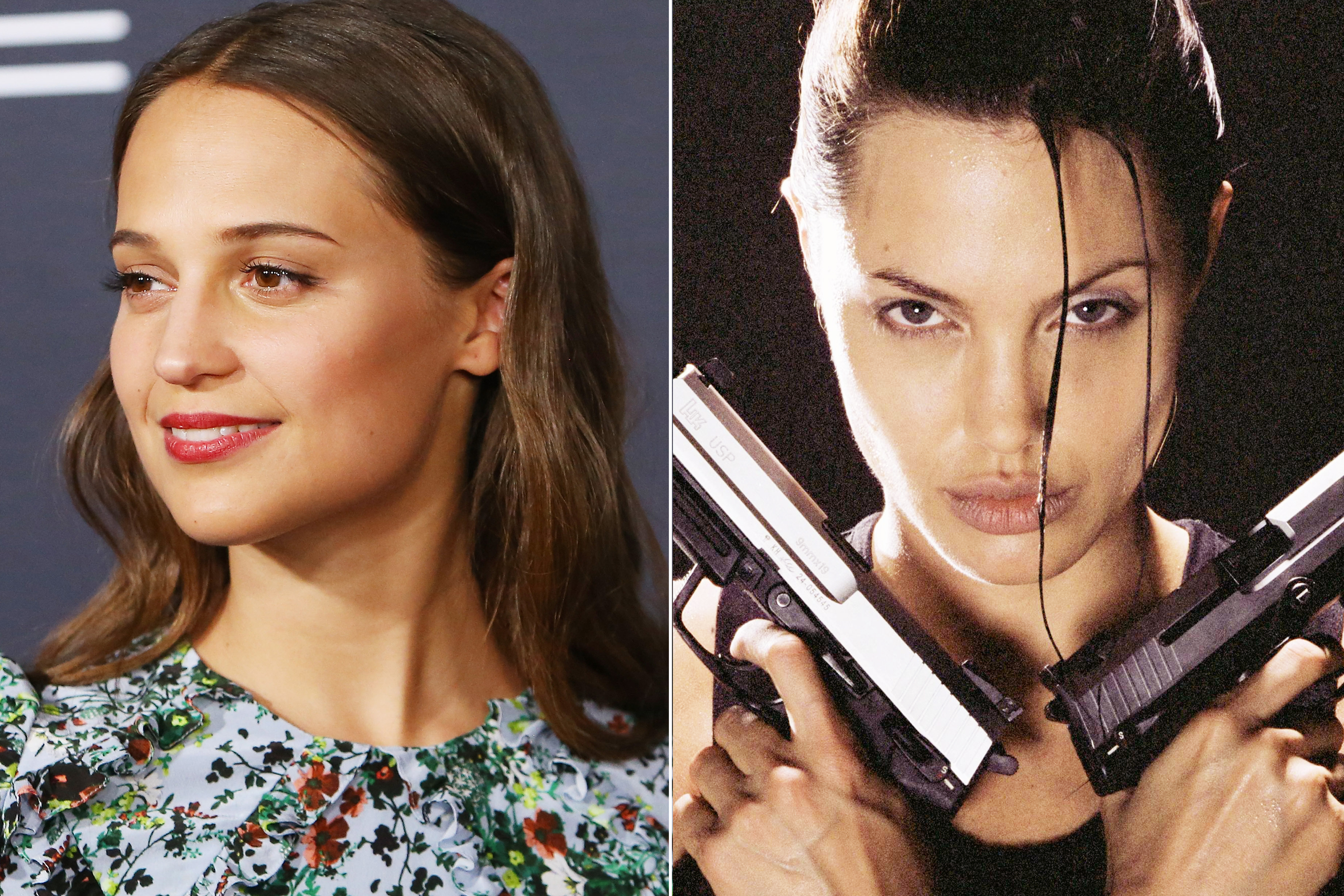 Alicia Vikander in Hollywood on Feb. 26, 2016 (R); Angelina Jolie in Tomb raider