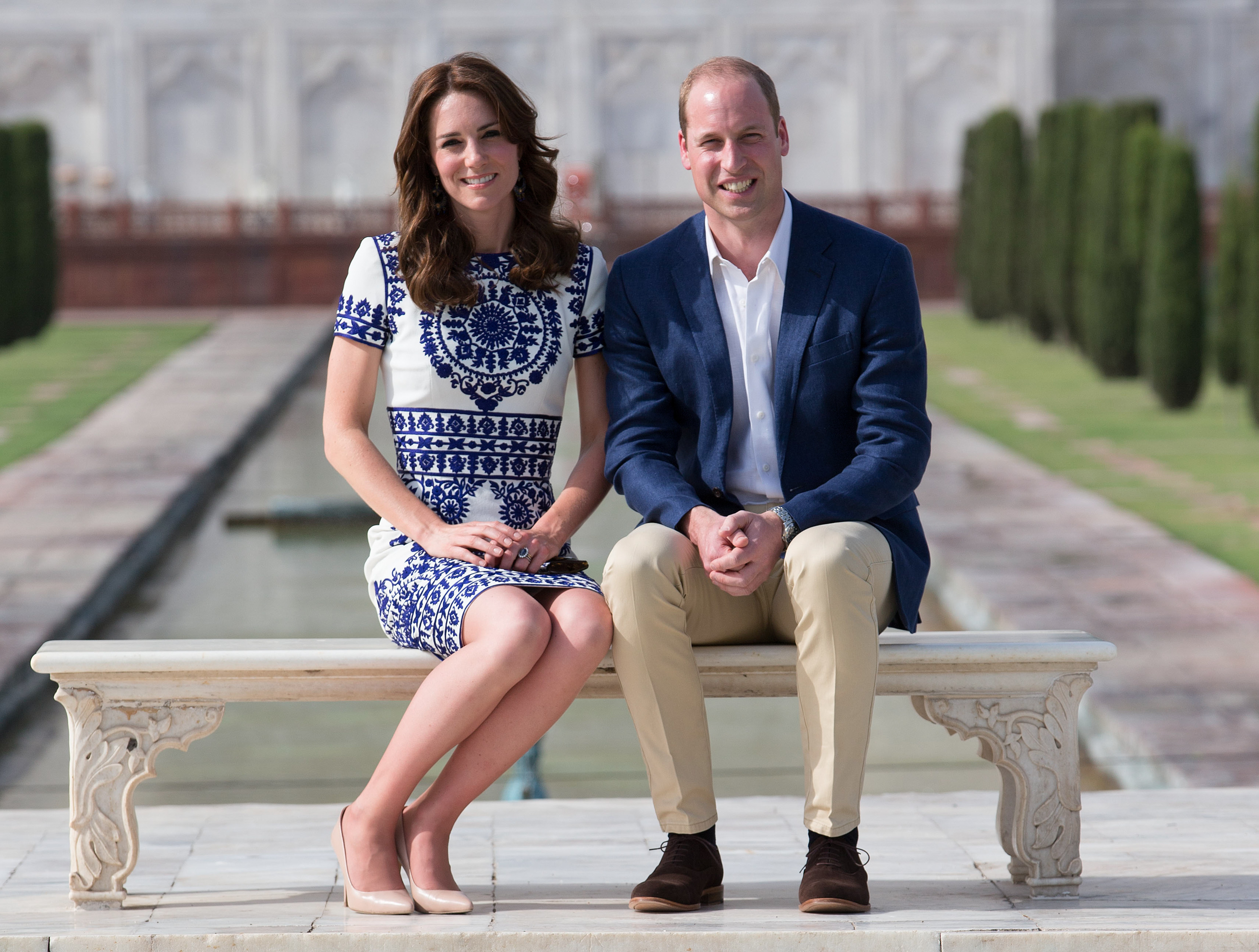 Agra, India. The Duke and Duchess of Cambridge at the Taj Mahal in Agra on the final  day of their tour of India and Bhutan.