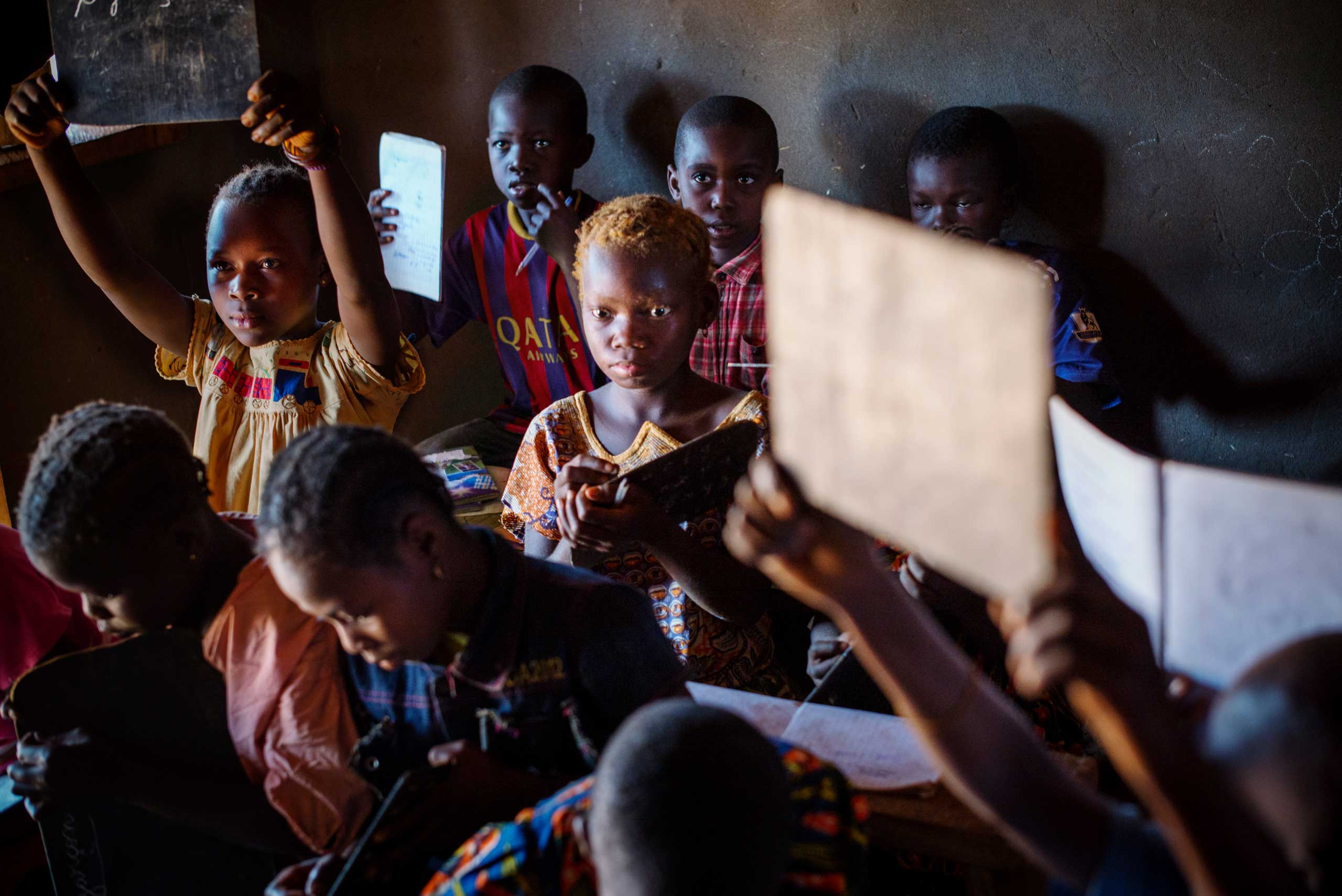A school in Yombo.                               Central African Republic. More than one third of all children never go to school in the country.