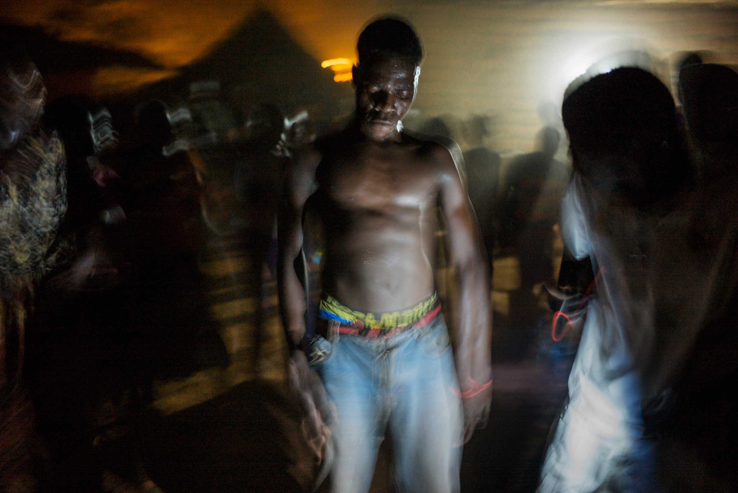 To celebrate the presidential and parliament elections, a man dances during a traditional gathering in Zemio, Central African Republic.
