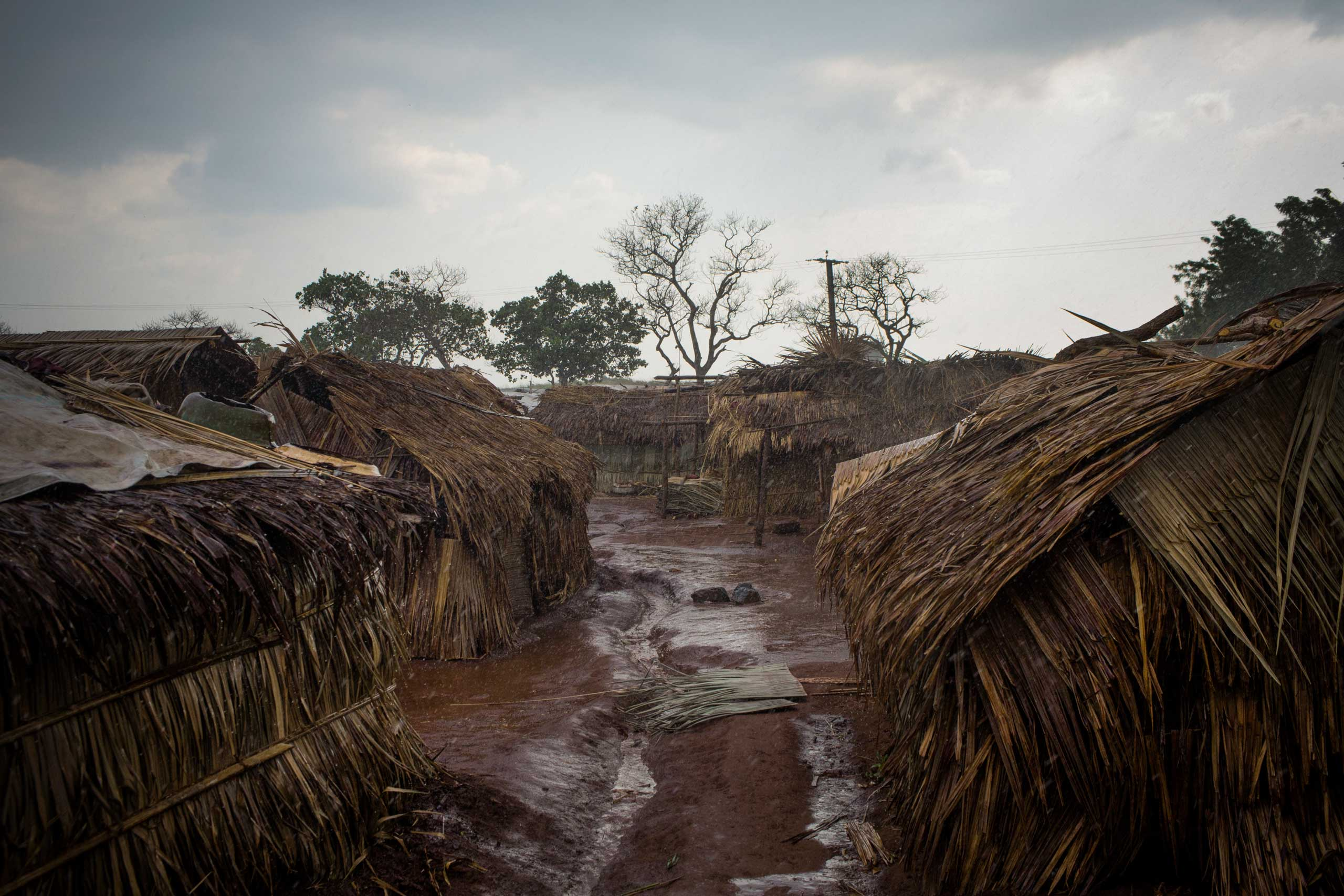 The Ngakobo camp for internally displaced people, seen after a storm. More than 16,000 Christians live in the camp after fleeing their homes during the sectarian fighting.