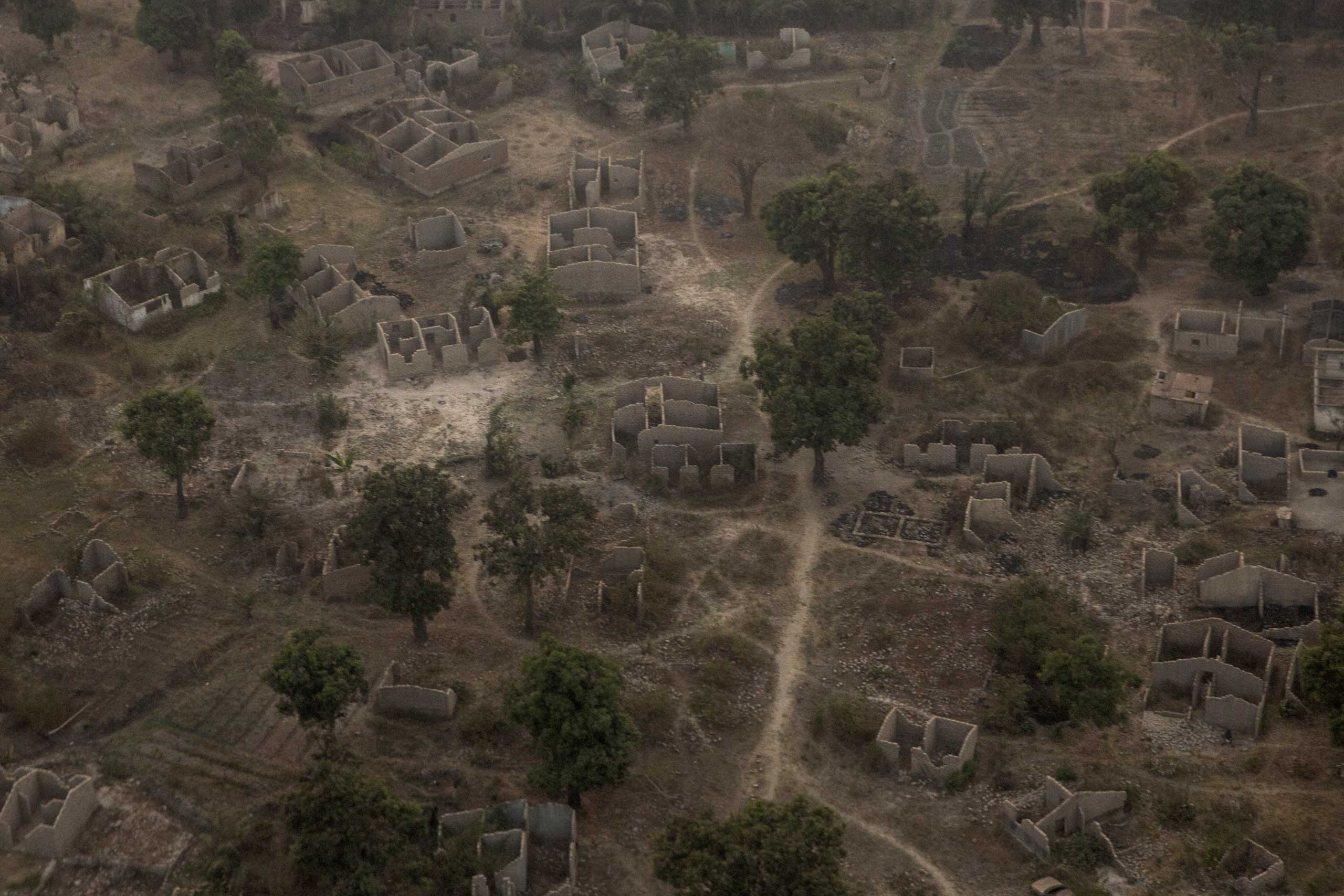 A former Muslim neighborhood in Bangui, Central African Republic, where every house was destroyed during two years of fighting.