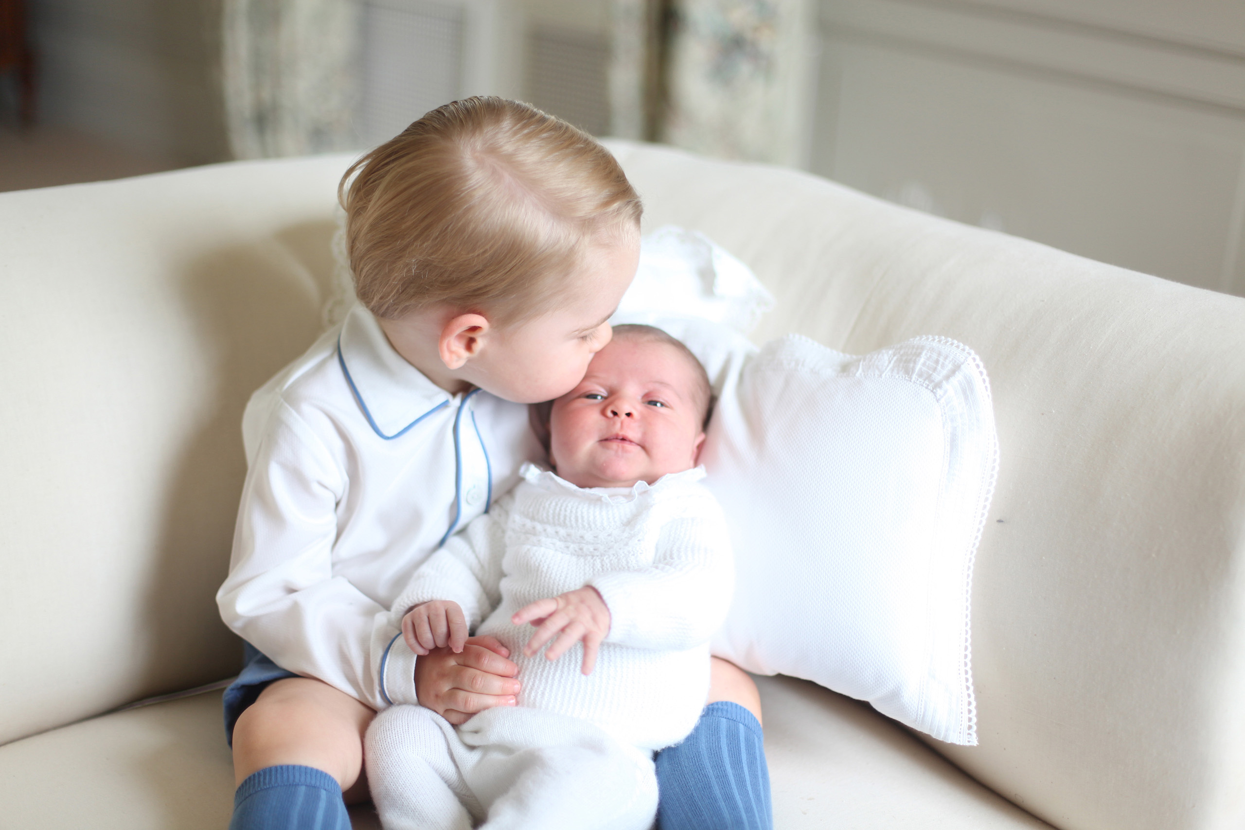 Prince George and Princess Charlotte in a photo taken by the Duchess in mid-May at Anmer Hall in Norfolk and released on June 6, 2015.