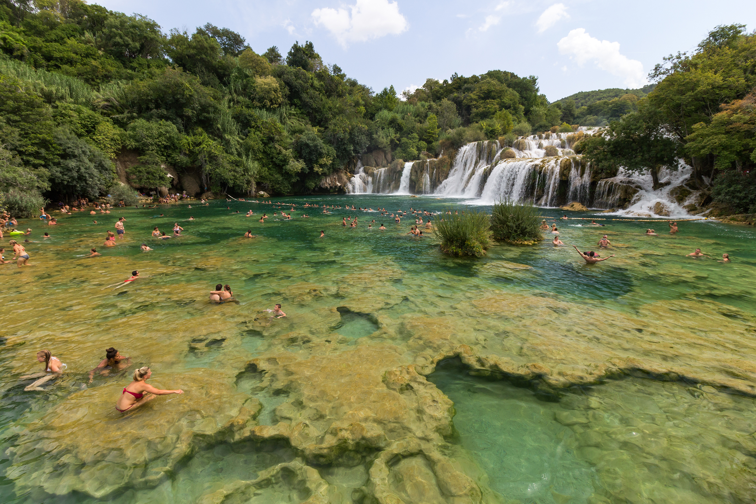 Skradinski buk, Krka National Park, Croatia. Encompassing 10900 hectares surrounding the Krka River, this park is home to 10 endemic fish species and is one of the most ornithologically valuable regions in Europe.