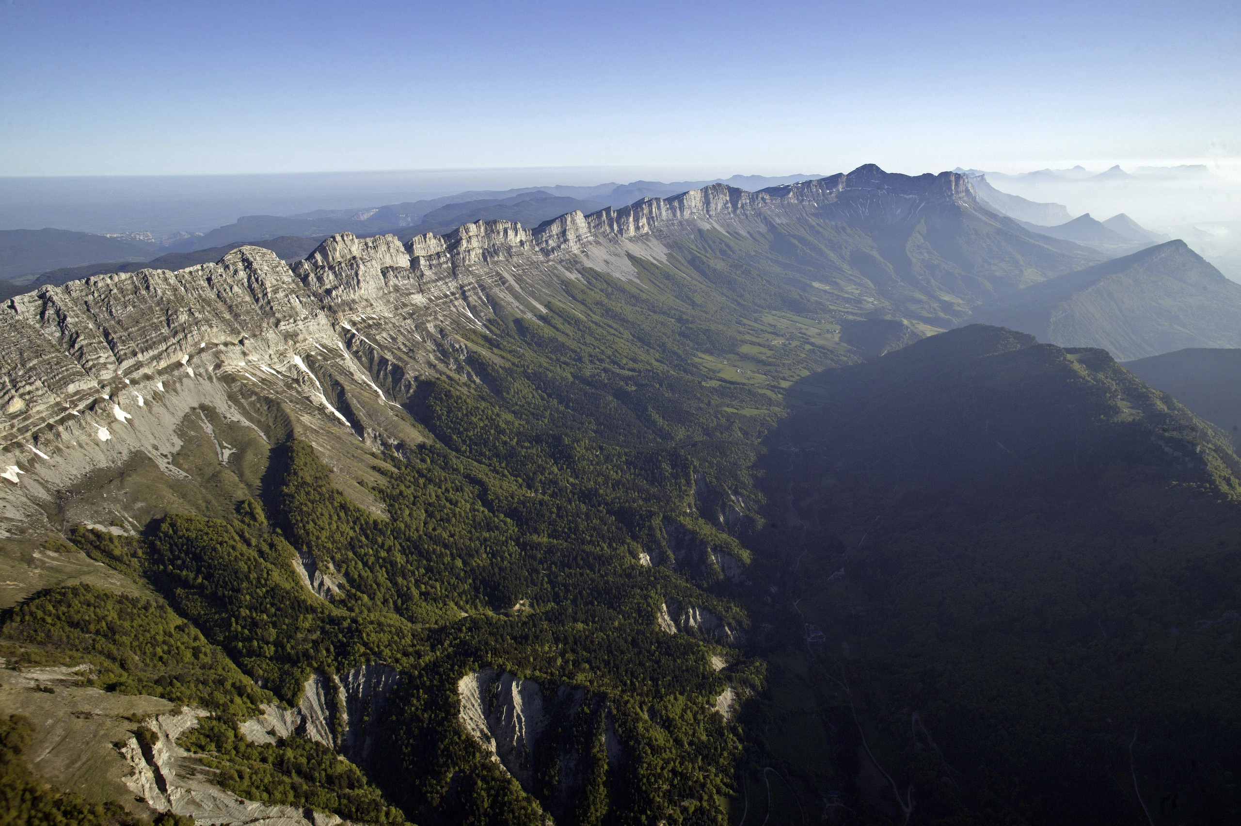 Vercors Massif, Vercors Regional Natural Park, France. This park contains the French Western Alps and covers 135,000 hectares. The limestone cliffs here are dotted with caves and were a base for the French Resistance during WWII.