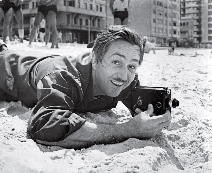 1941 Filmmaker Walt Disney filming on Brazilian beach