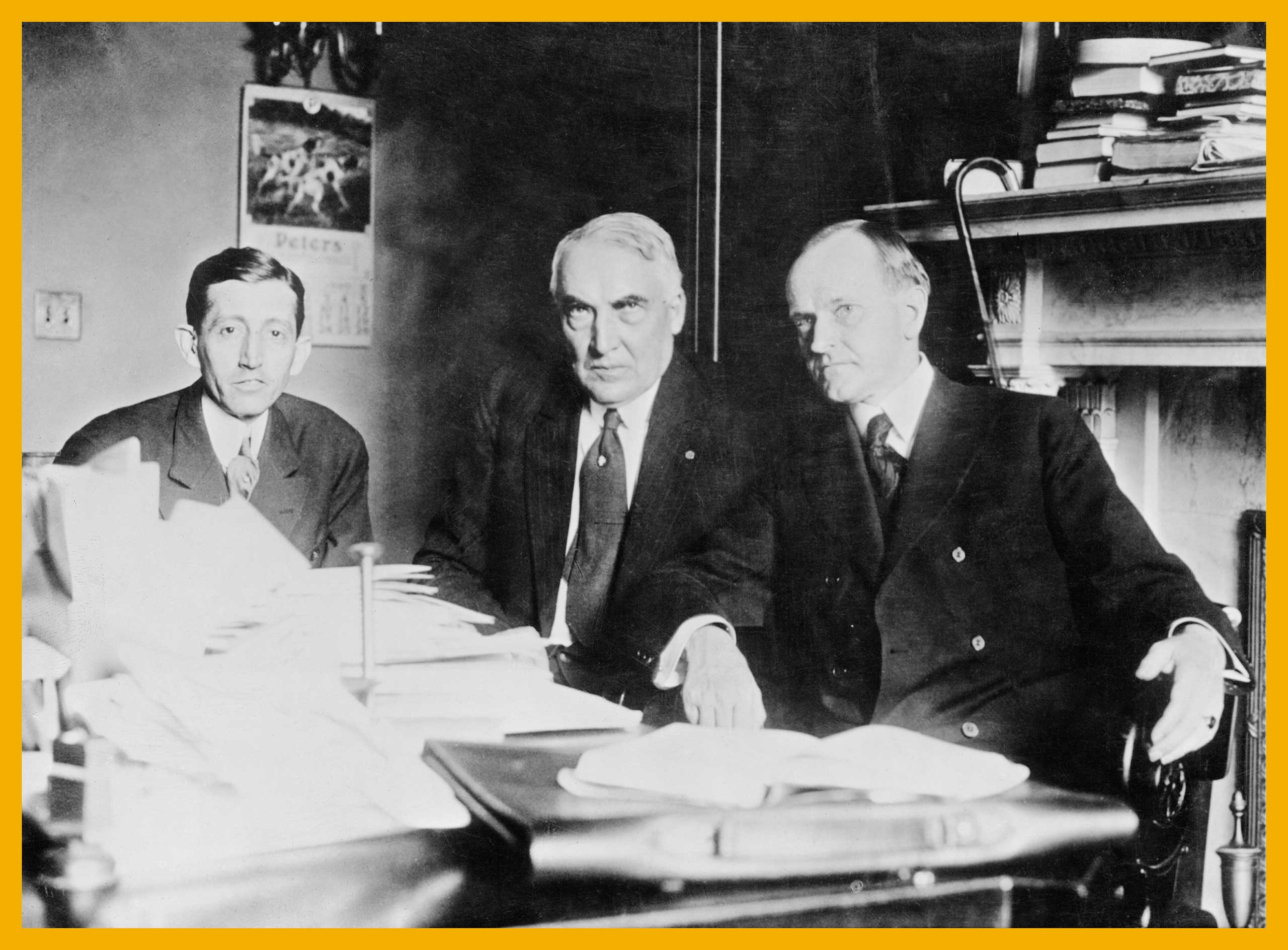 Chairman of the Republican National Committee, Will H. Hays at his first conference with Republican presidential nominee, Senator Warren G Harding, and his running mate, Governor of Massachusetts, Calvin Coolidge. Washington DC, 1920.