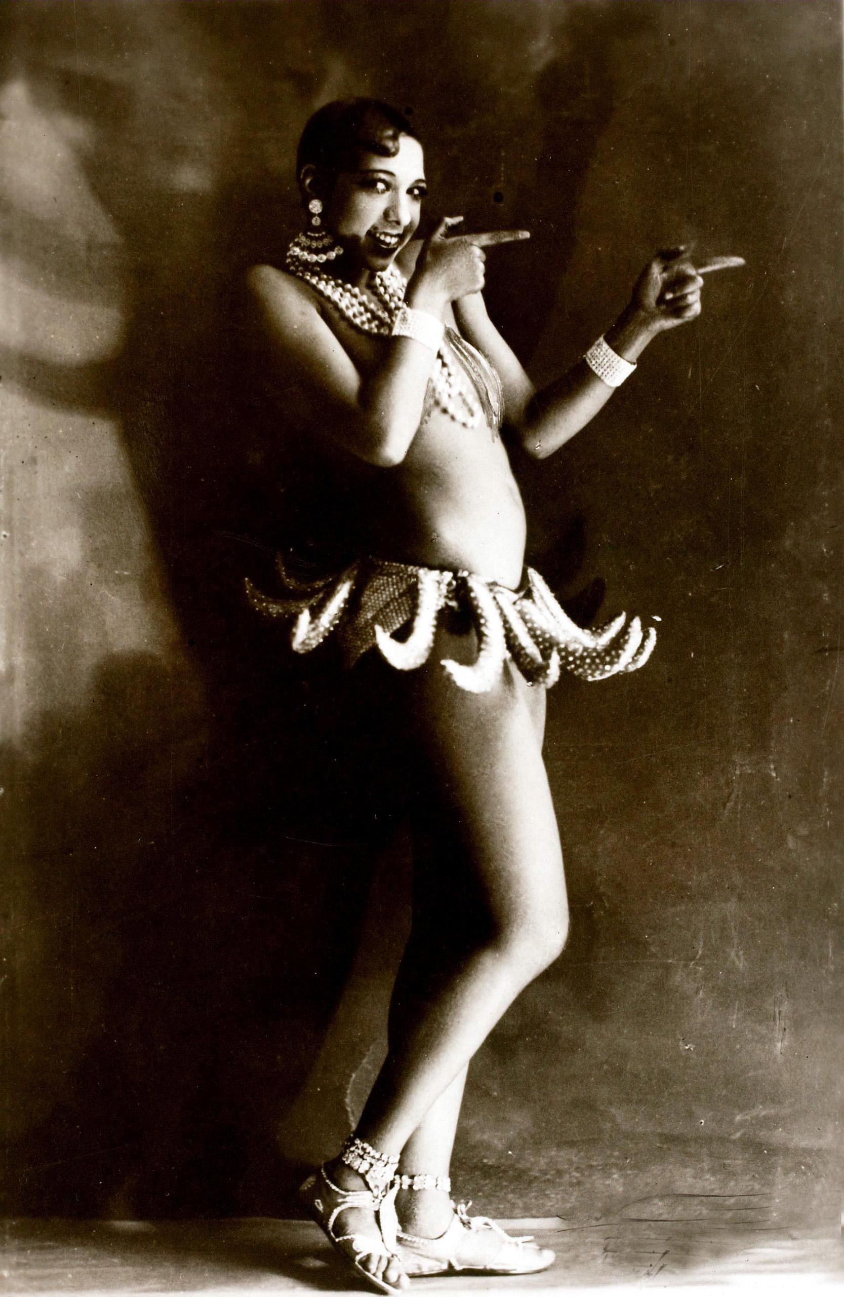 Josephine Baker wearing her famous banana costume, circa 1926.