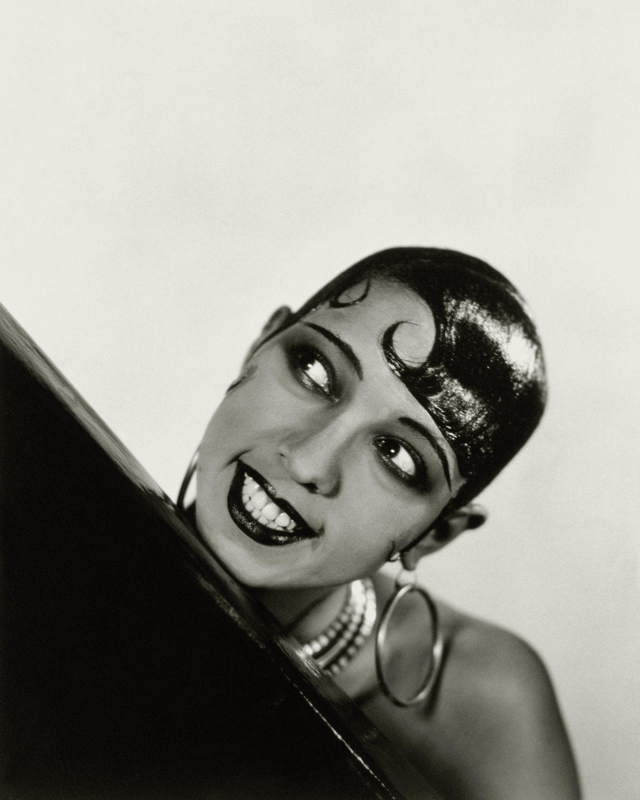 Josephine Baker, circa 1927, wearing large hoop earrings.