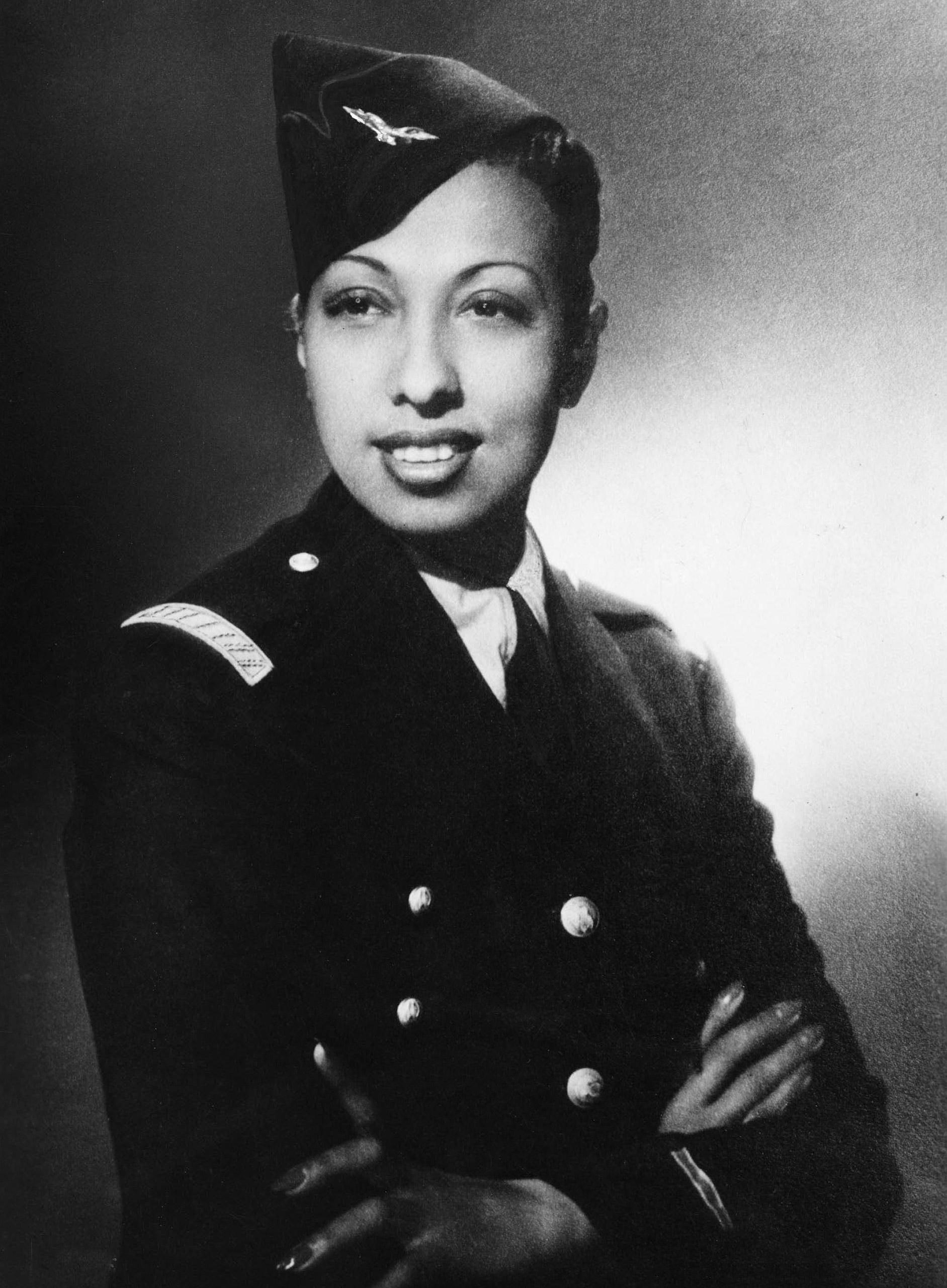 Josephine Baker in a military uniform, 1944.