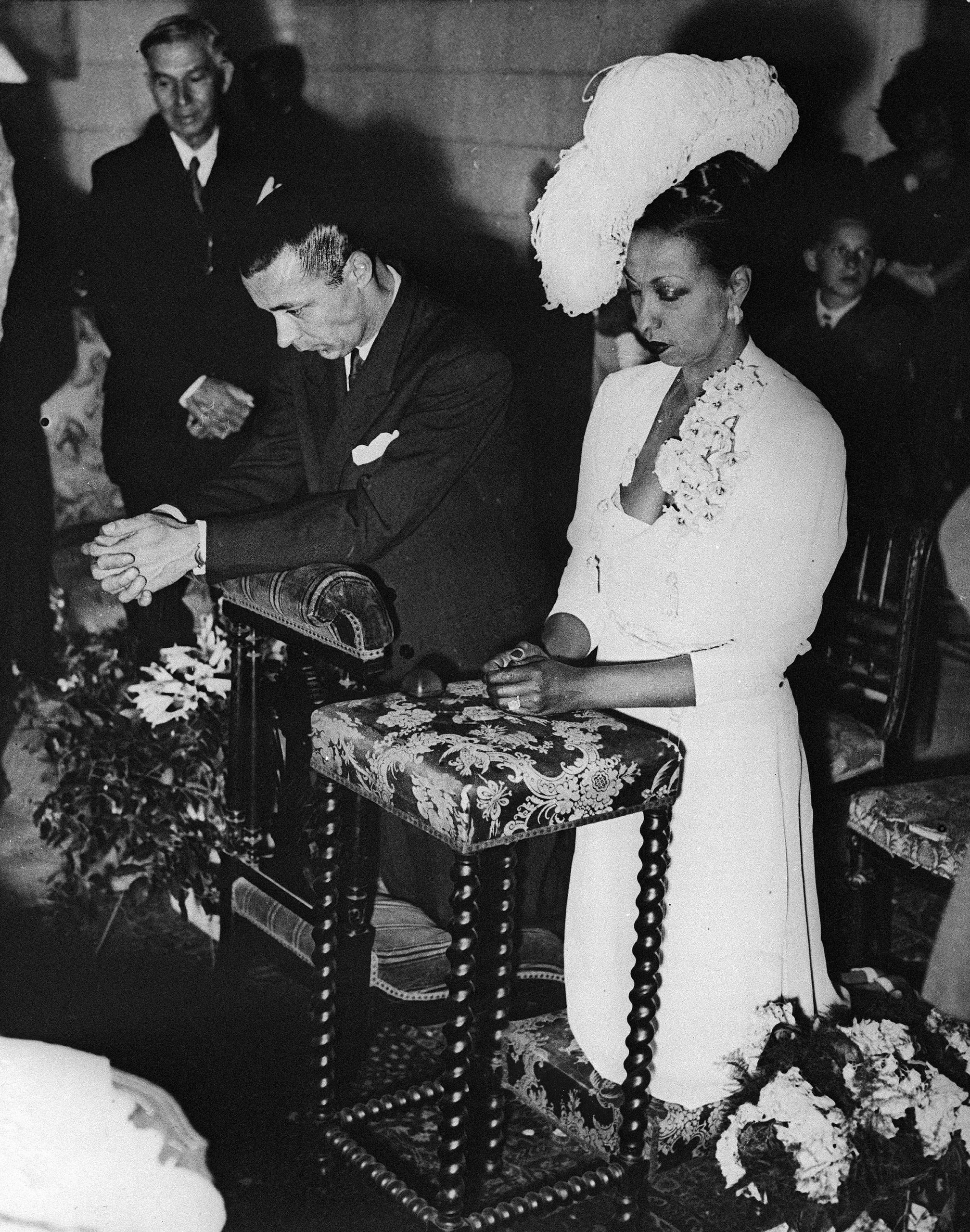 Josephine Baker and Jo Bouillon are seen June 5, 1947, during their marriage ceremony at her home, Chateau des Milandes, near St. Cyprien in southern France.