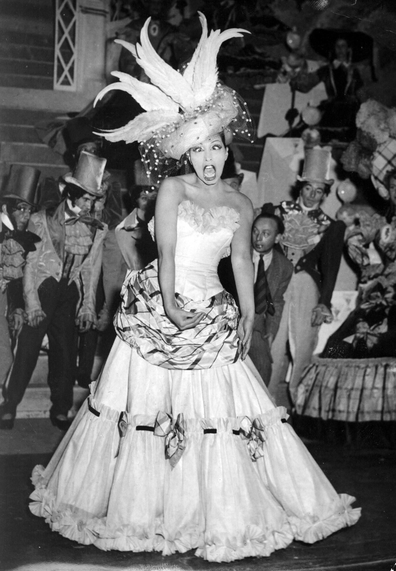 Josephine Baker during a show-revue at Paris, Feb. 21, 1949.