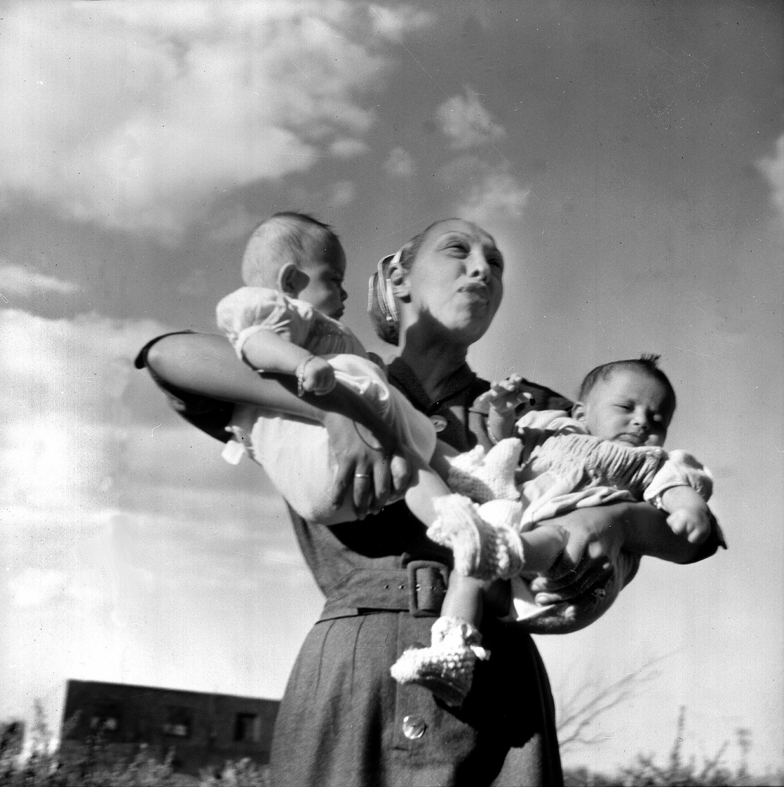Josephine Baker and two of her adopted children, circa 1950.