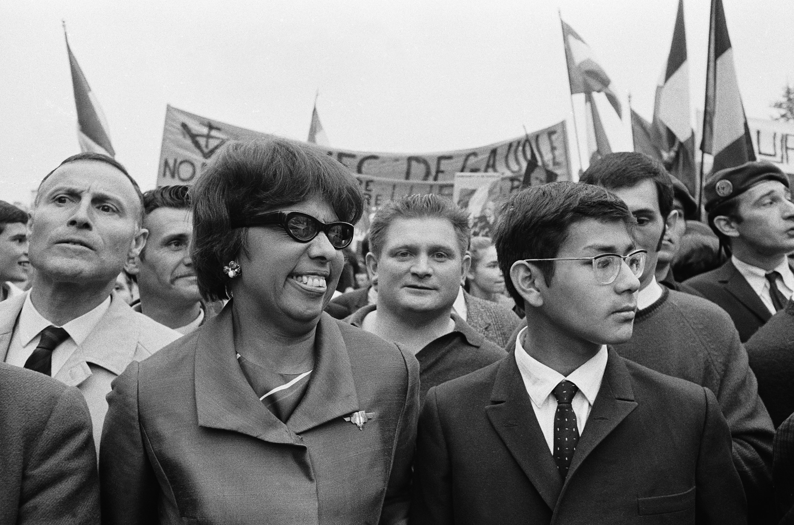 Josephine Baker at a demonstration in Paris, on May 30, 1968.