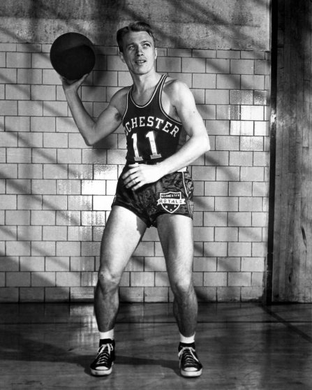 Bob Davies of the Rochester Royals poses for an action portrait during the 1946 season in Rochester, New York.