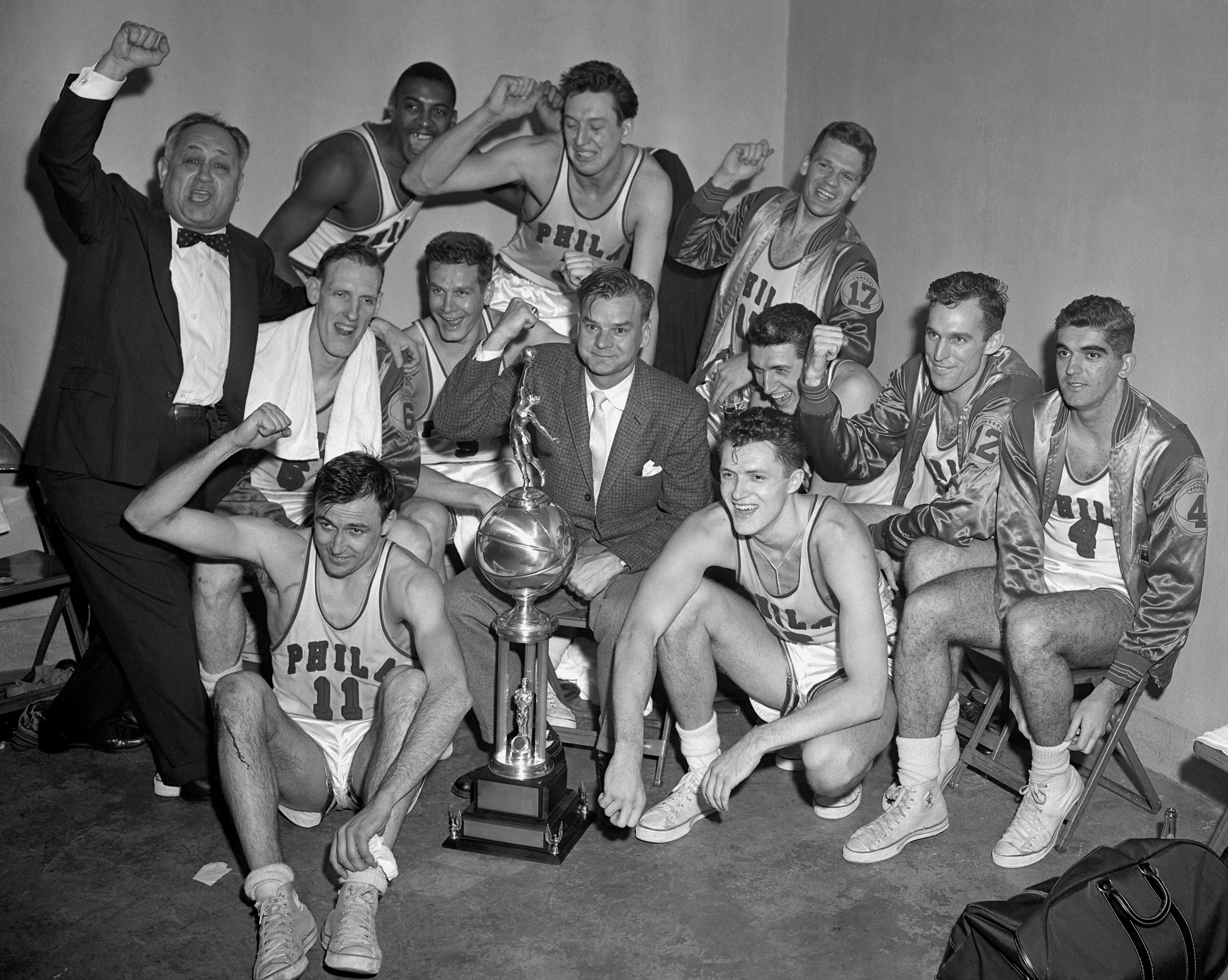 Philadelphia Warriors against the Fort Wayne Pistons during Game Five of the NBA Finals on April 7, 1956 at the Philadelphia Civic Center in Philadelphia. The Philadelphia Warriors defeated the Fort Wayne Pistons 99-88 and won the series 4-1.