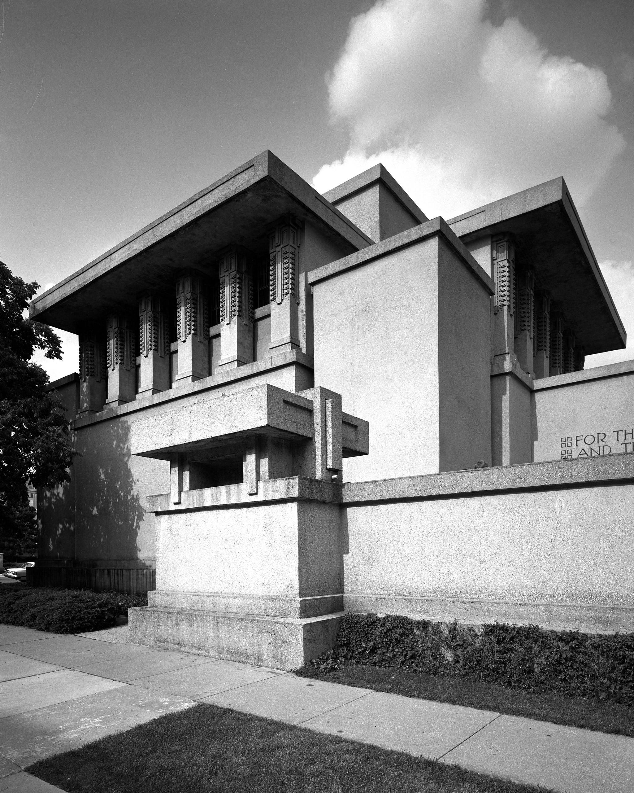 Frank Lloyd Wright's Unity Temple Church in Oak Park, Ill. Built circa 1905-1908.