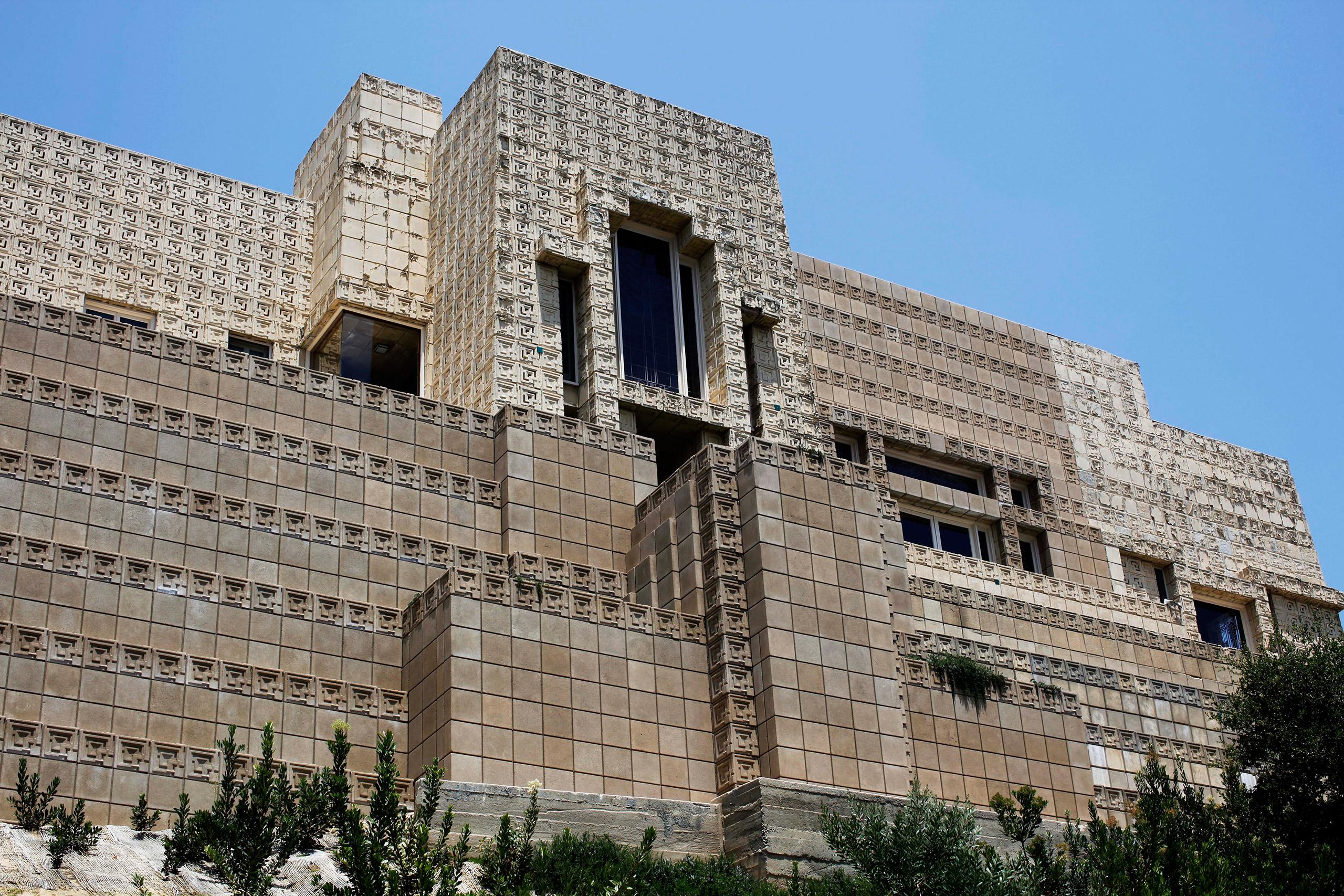 Frank Lloyd Wright's Ennis House in Los Angeles. Built circa 1924.