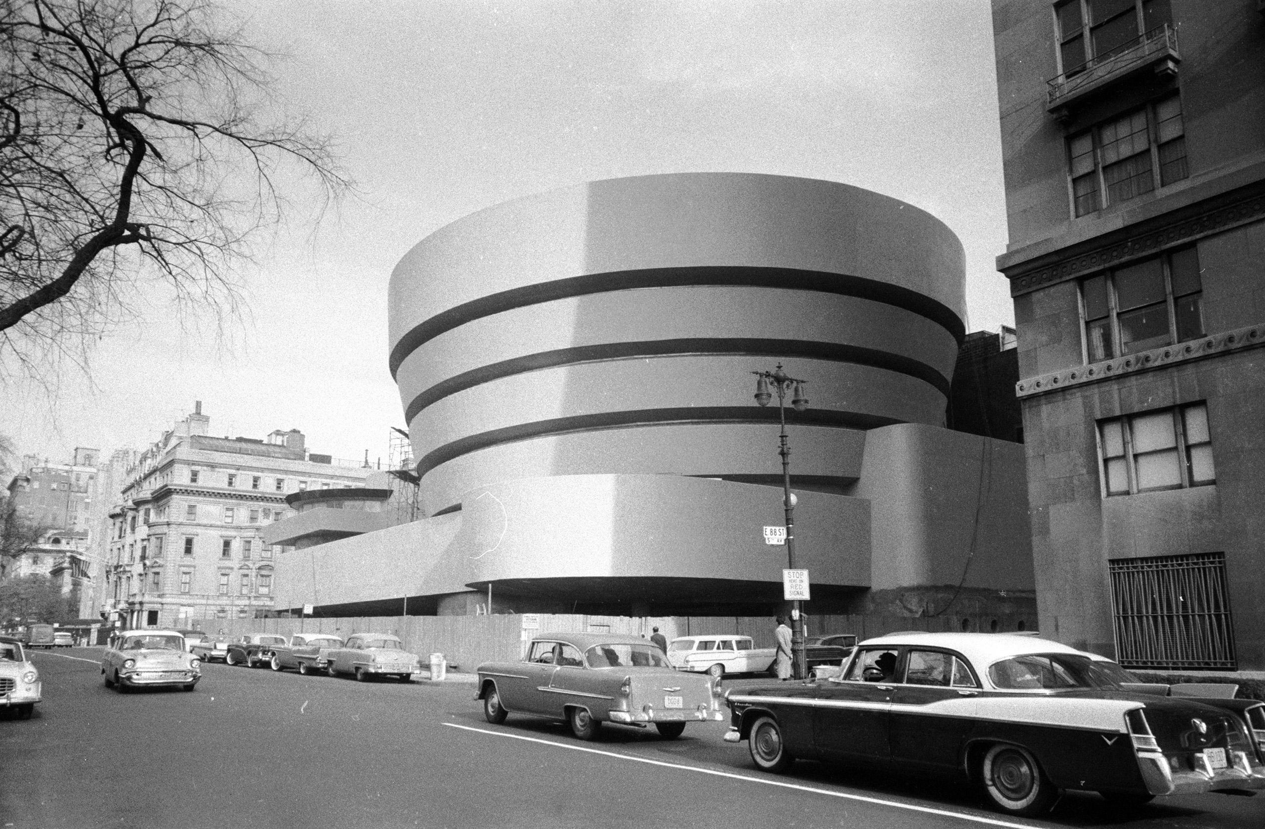 Frank Lloyd Wright's Guggenheim Museum in New York, N.Y. Built circa 1959.