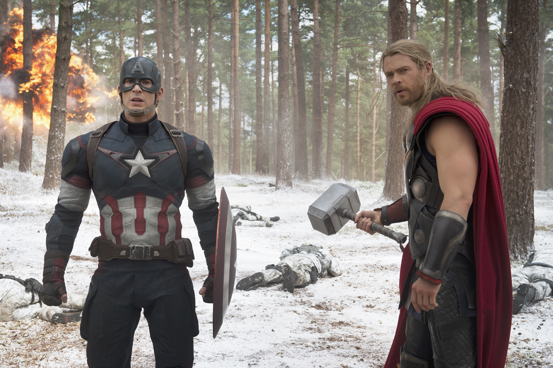 Marvel's Avengers: Age Of Ultron with Steve Rogers as Captain America and Chris Hemsworth as Thor.