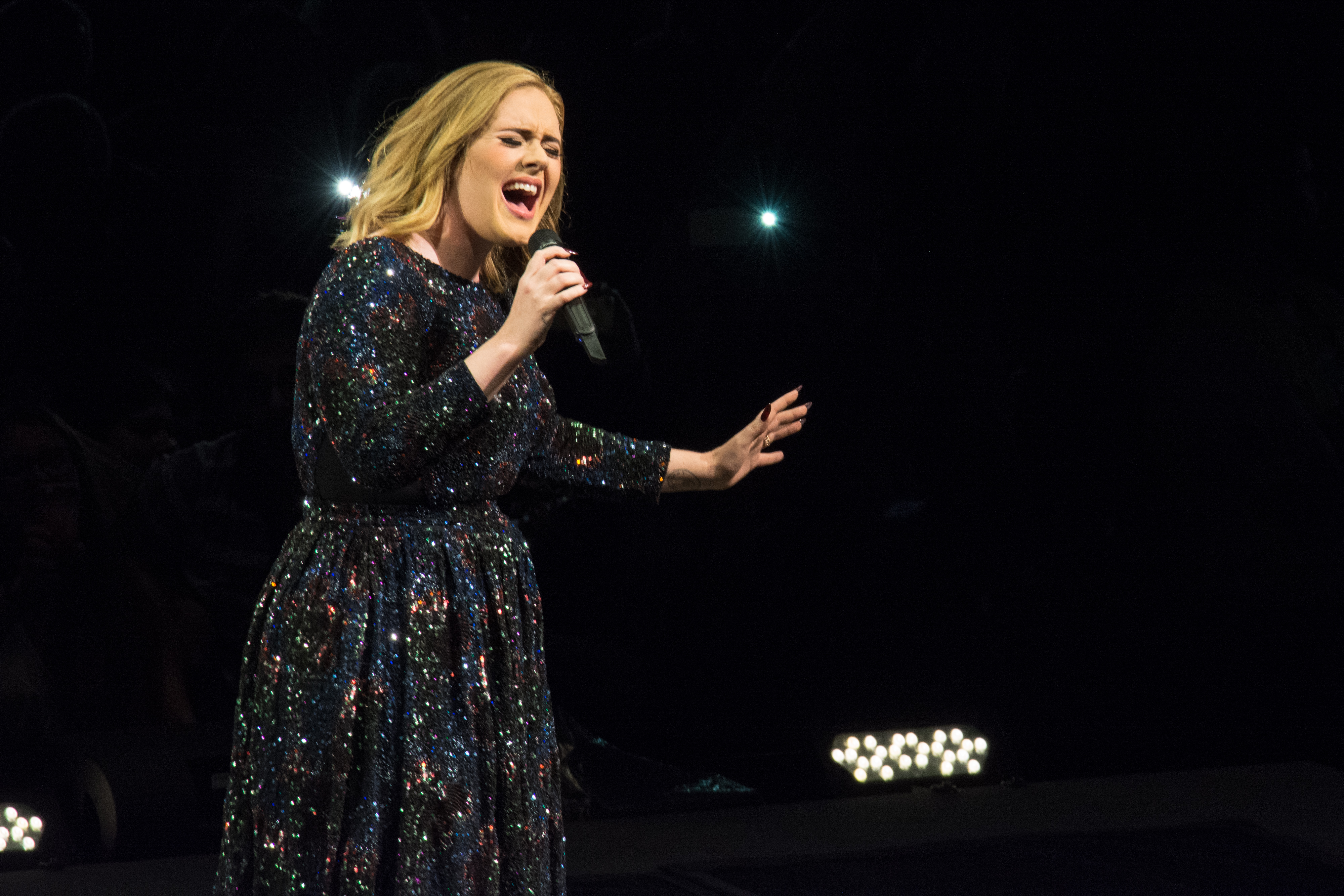 Adele pperforming on May 21, 2016 in Lisbon, Portugal.
