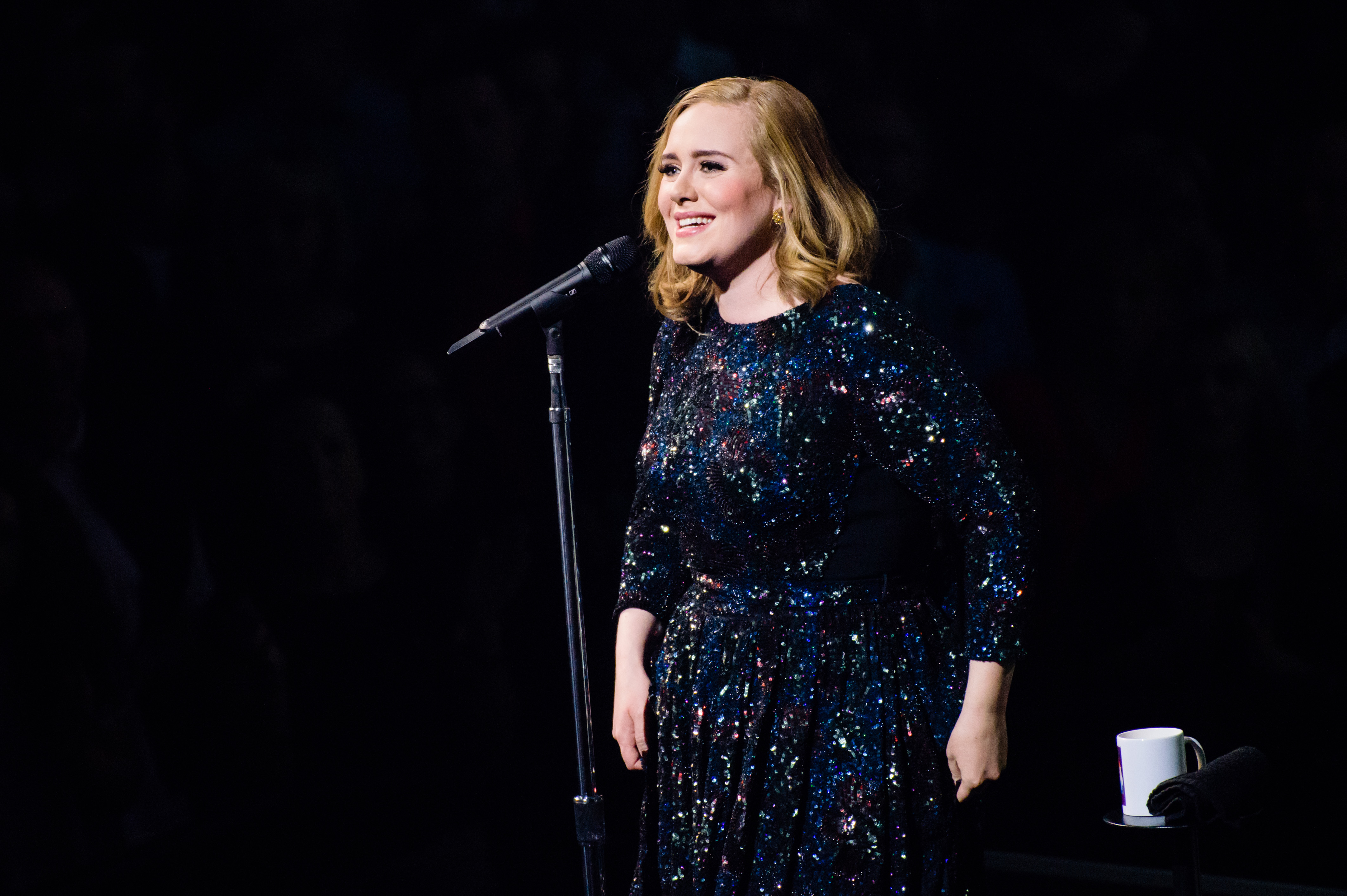 Singer Adele performs live on stage during a concert at Mercedes-Benz Arena on May 07, 2016 in Berlin, Germany.