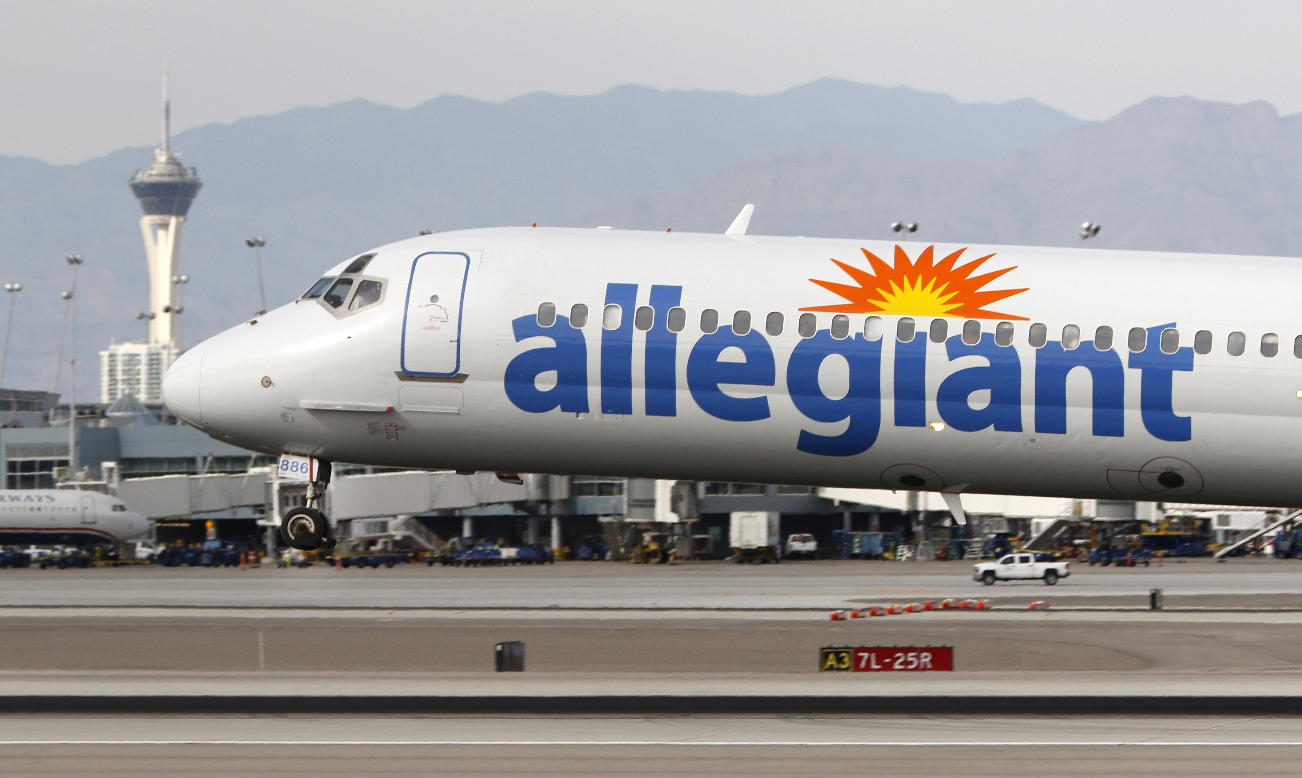 An Allegiant Air plane lands at McCarran International Airport in Las Vegas on March 3, 2016.