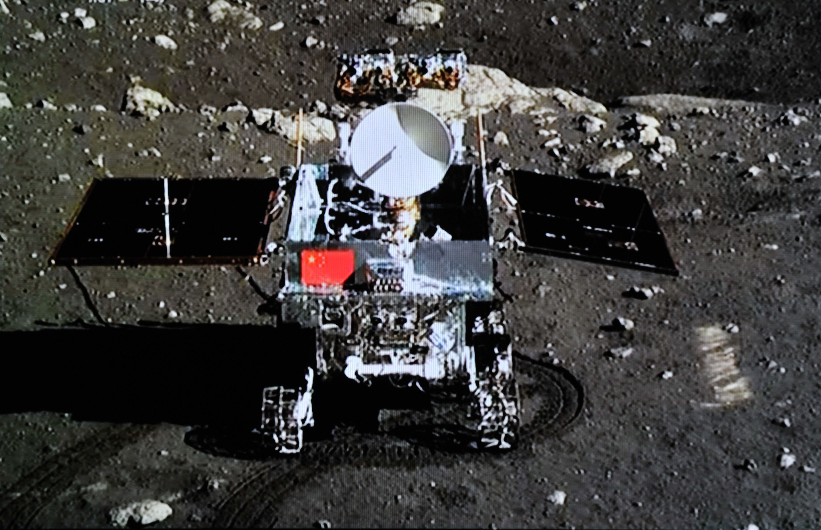 Chinas first moon rover The Jade Rabbit on the surface of the moon during the ChangE-3 lunar exploration mission on Dec. 15, 2013.