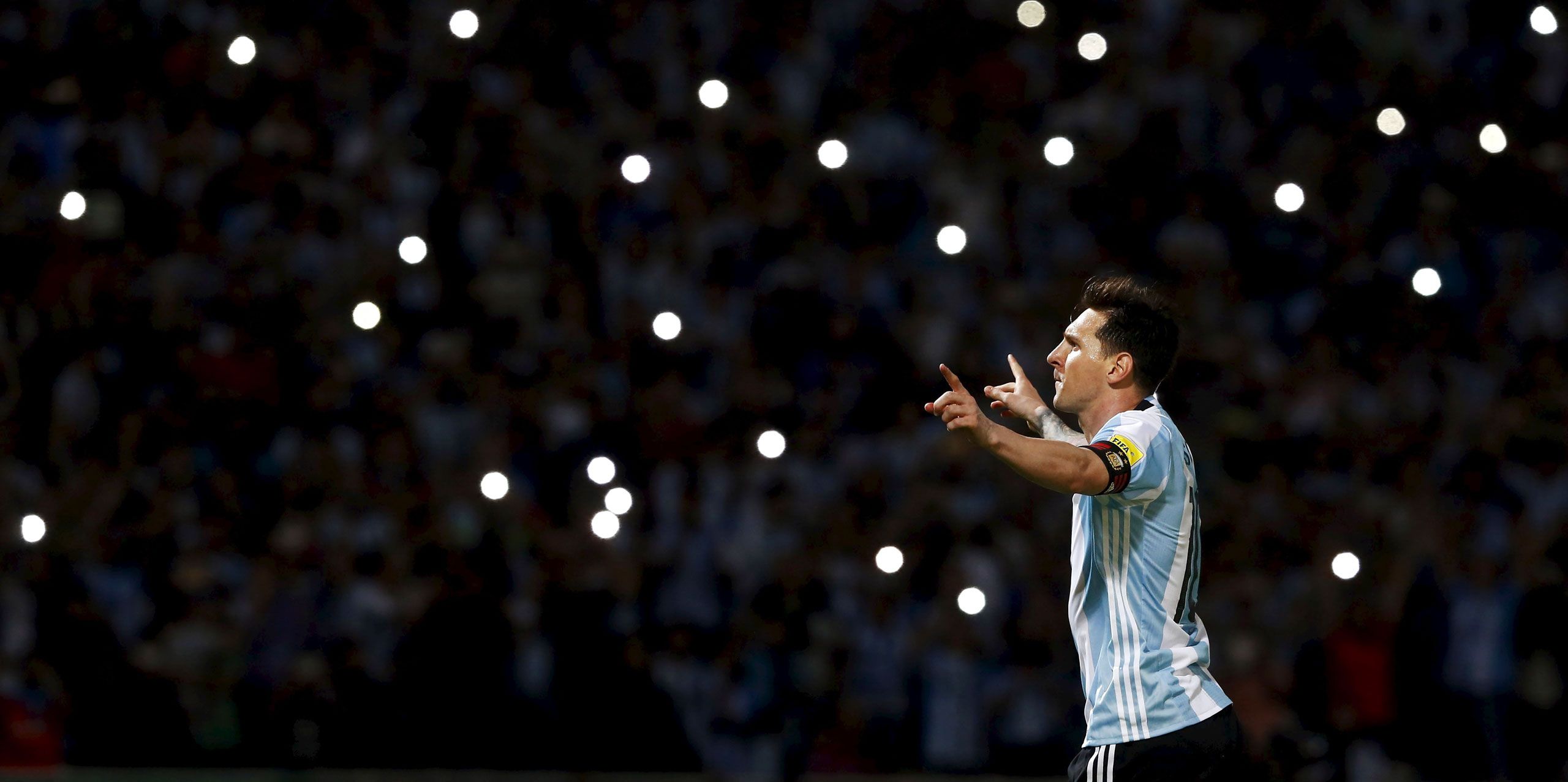 Messi celebrates after scoring a goal for Argentina in a March29 World Cup qualifying match against Bolivia