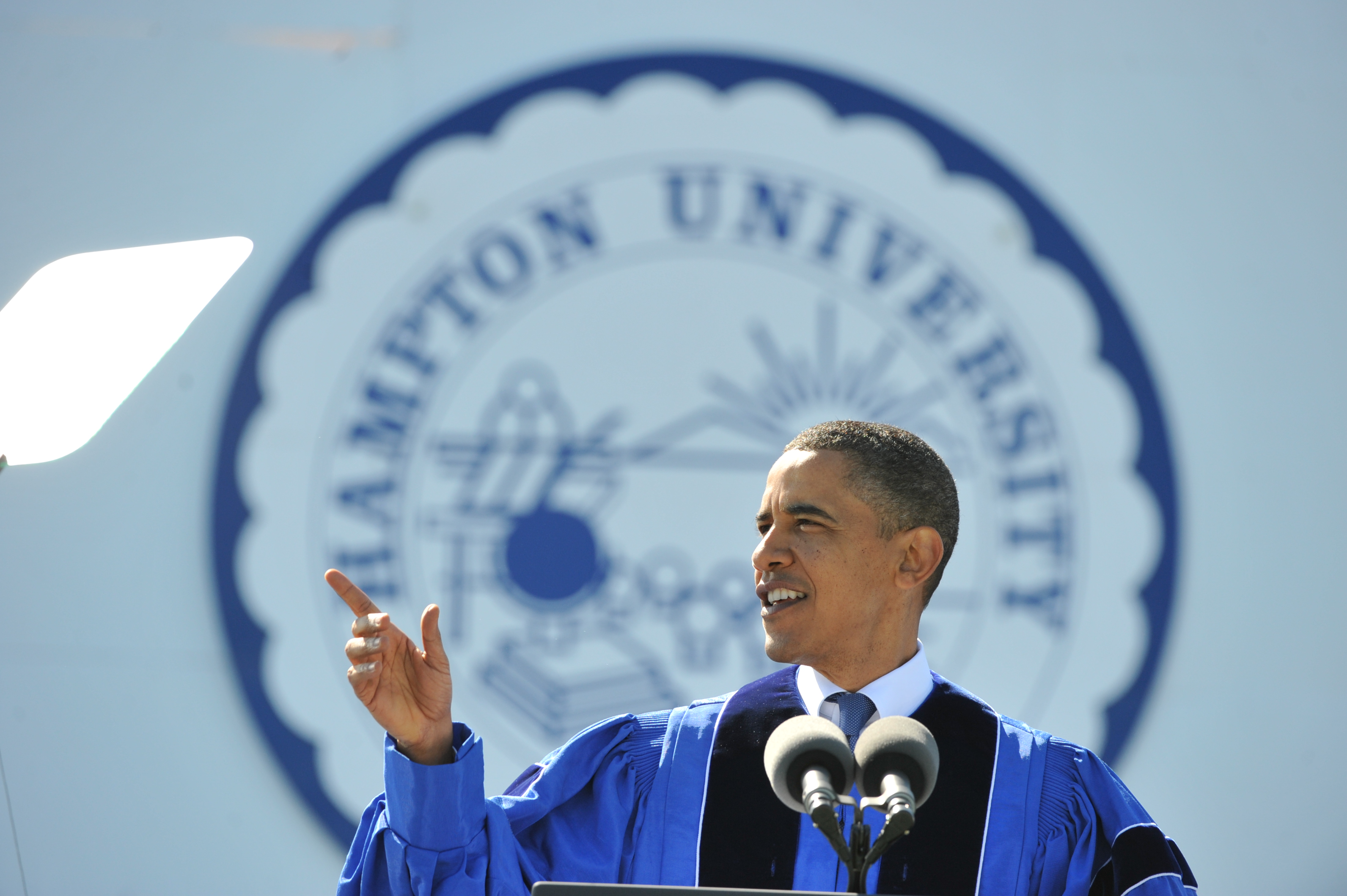 President Barack Obama delivers the commencement address at Hampton University  on May 9, 2010 in Hampton, VA.