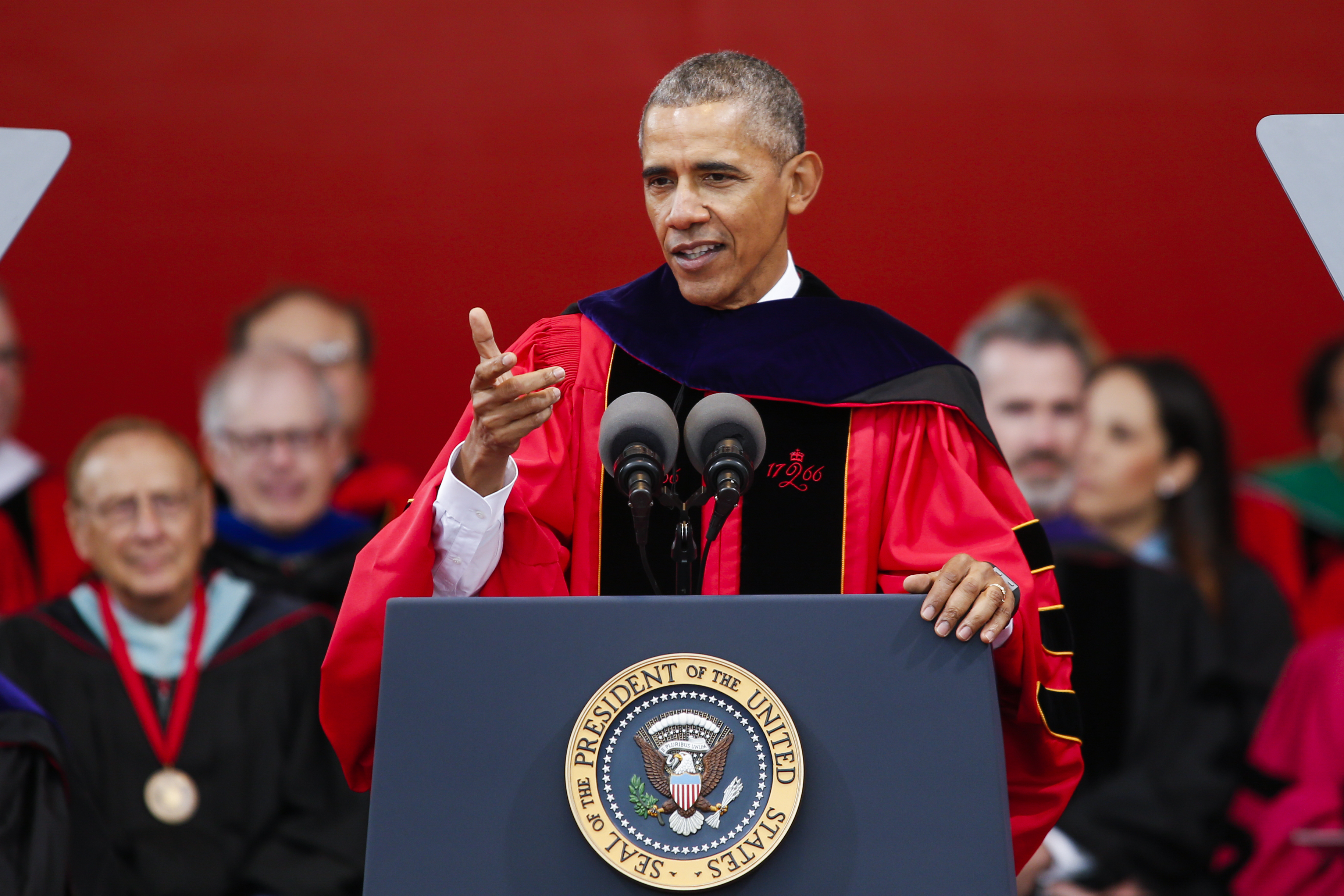 President Barack Obama speaks after receiving an honorary doctorate of laws during the 250th anniversary commencement ceremony at Rutgers University on May 15, 2016 in New Brunswick, New Jersey.