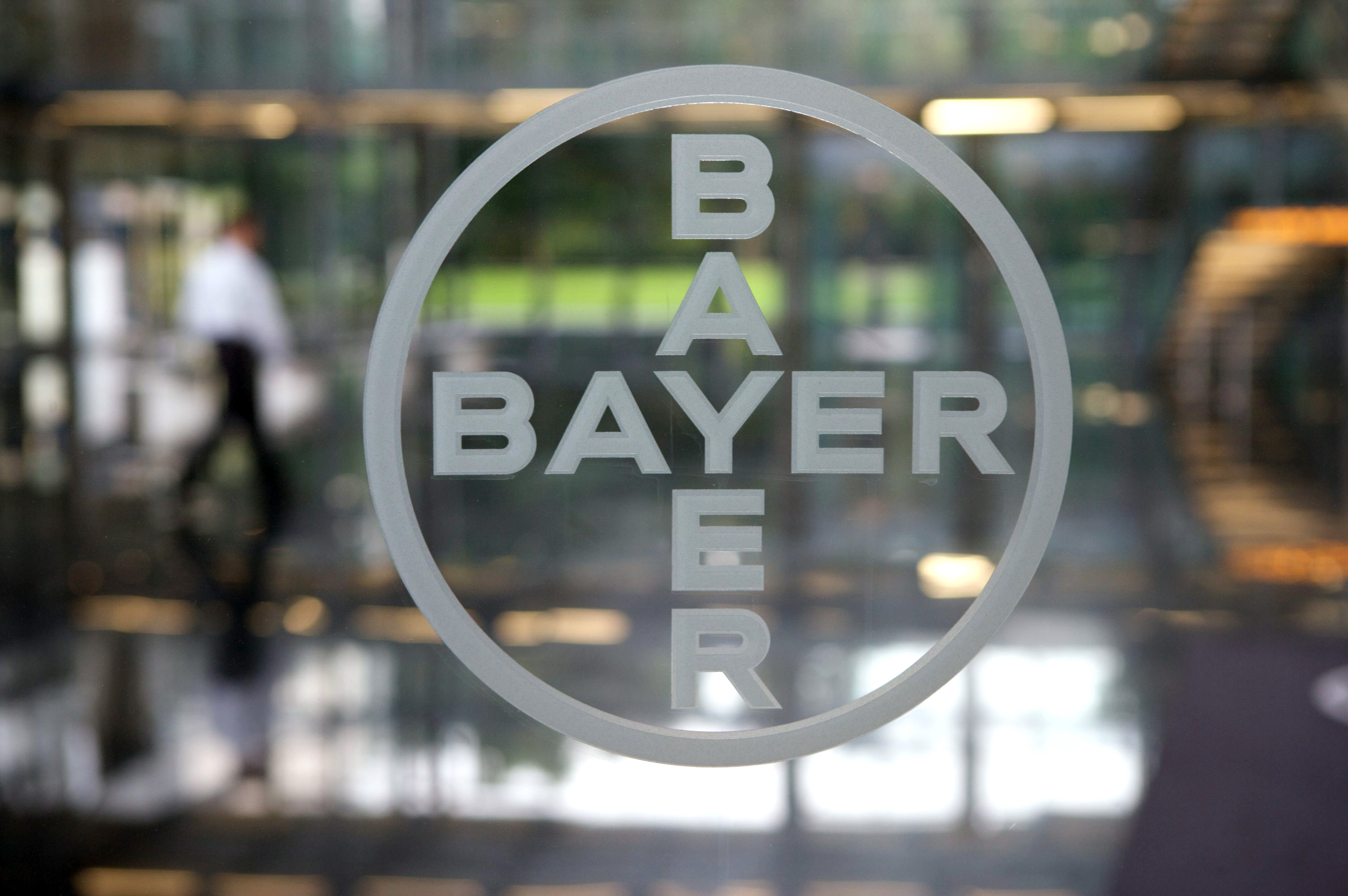 The logo of Bayer at the entrance of the company's headquarters in Leverkusen, Germany.