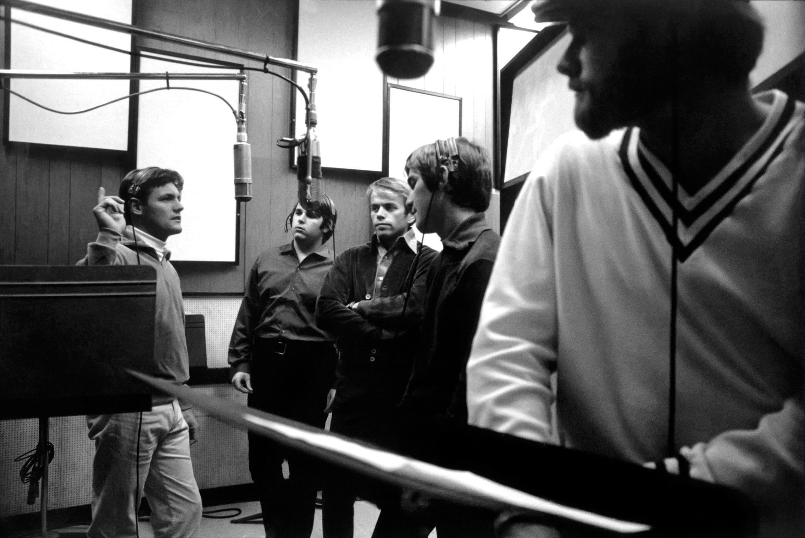 The Beach Boys at Western Recorders Studio 3, Hollywood, during the recording of Pet Sounds in 1965 or 1966.