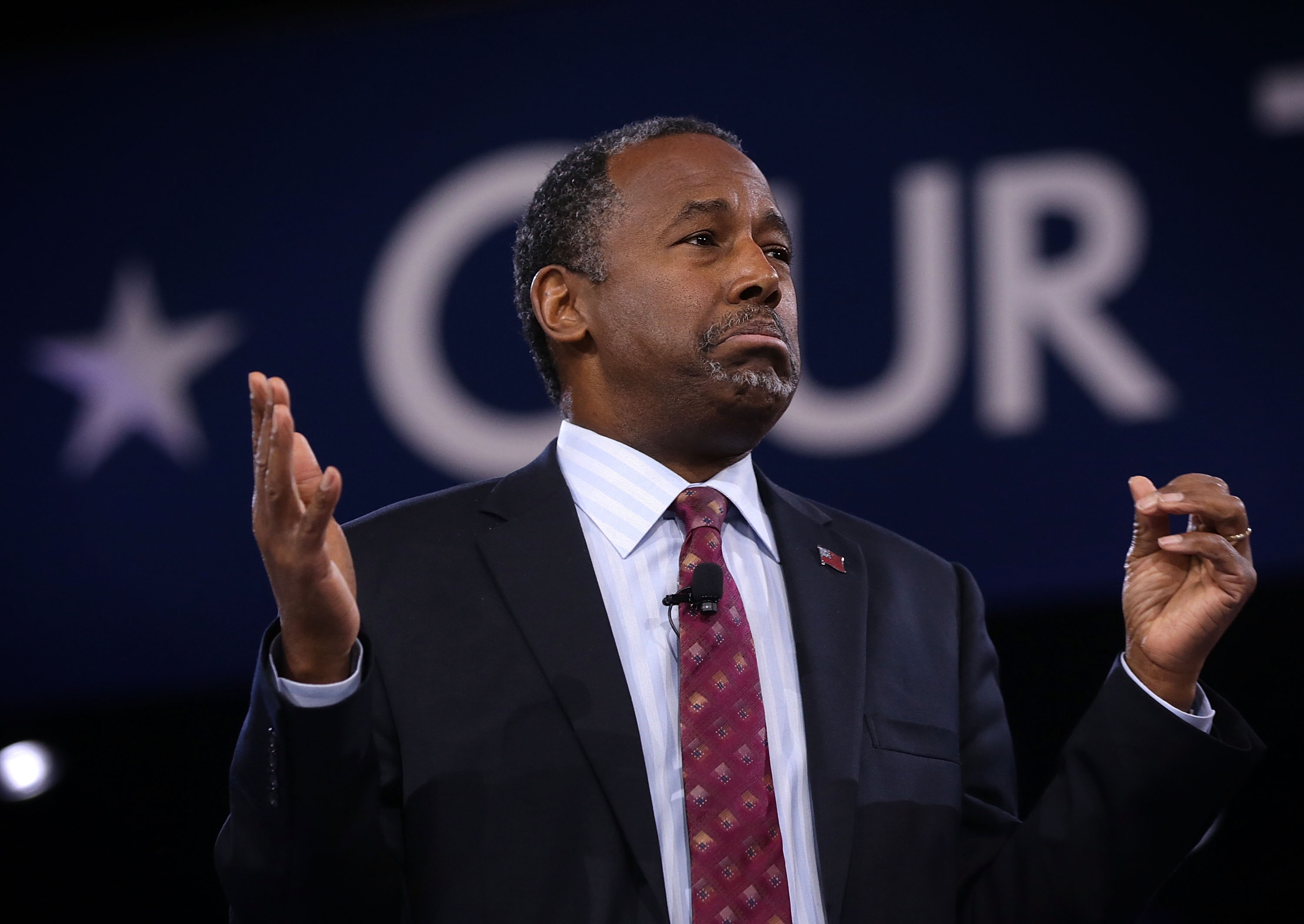 Republican presidential candidate Ben Carson speaks during CPAC 2016 March 5, 2016 in National Harbor, Maryland.