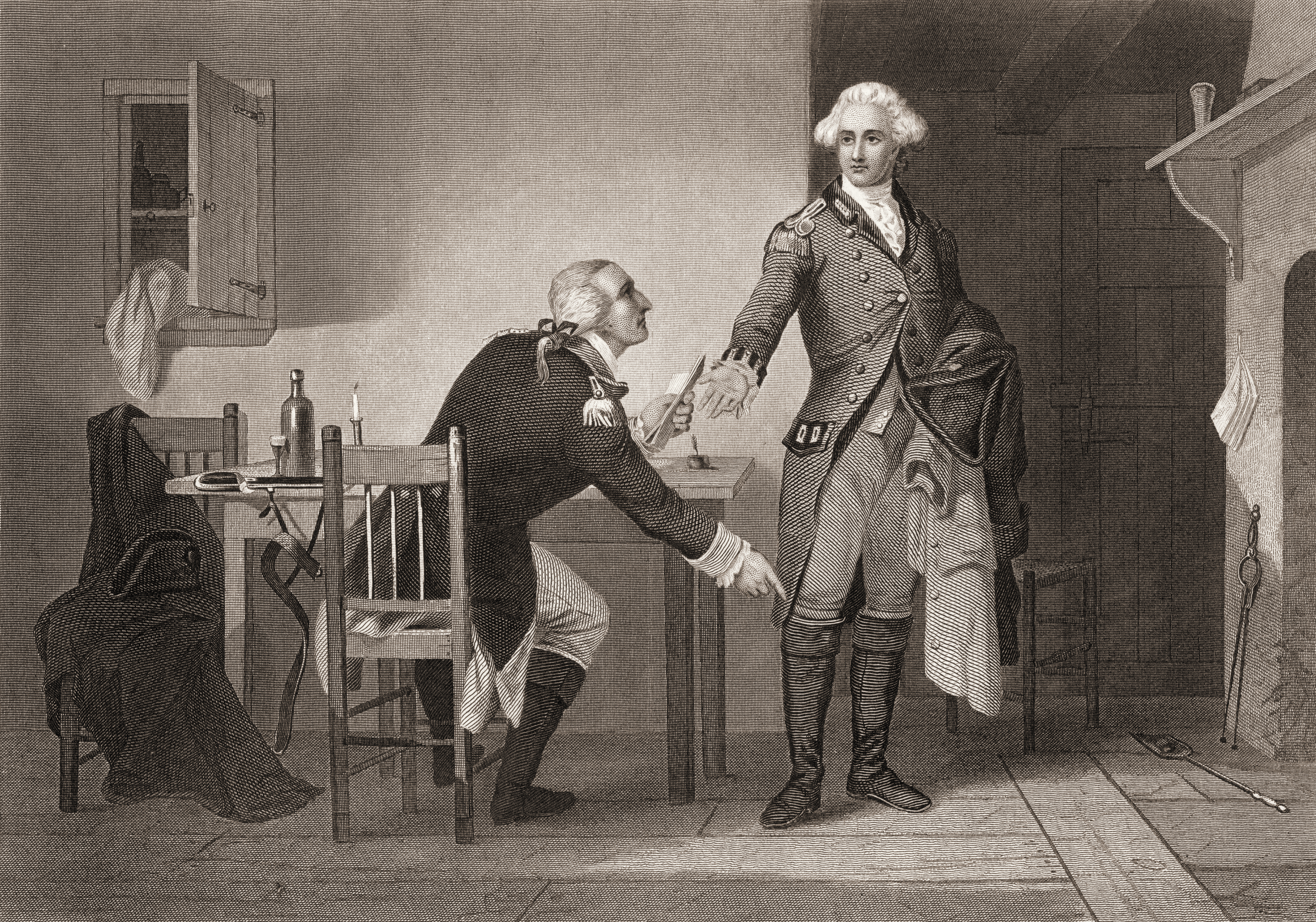 Engraving depicts American army officer Benedict Arnold (1741 - 1801), seated at a table, as he hands papers to British officer John Andre (1750 - 1780) during the American Revolutionary War, mid to late 18th century. Arnold eventually formally switiched sides and joined the British.