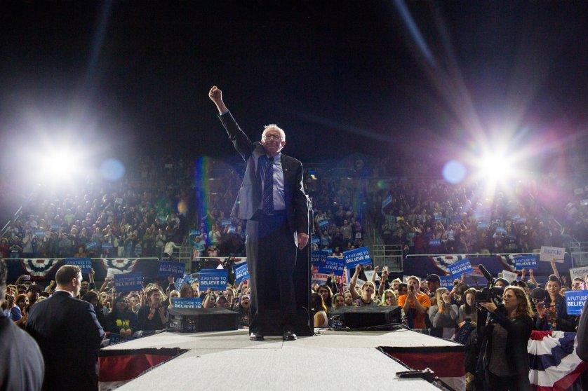 Sen. Bernie Sanders speaks at a campaign event in Ann Arbor, Michigan, March, 2016