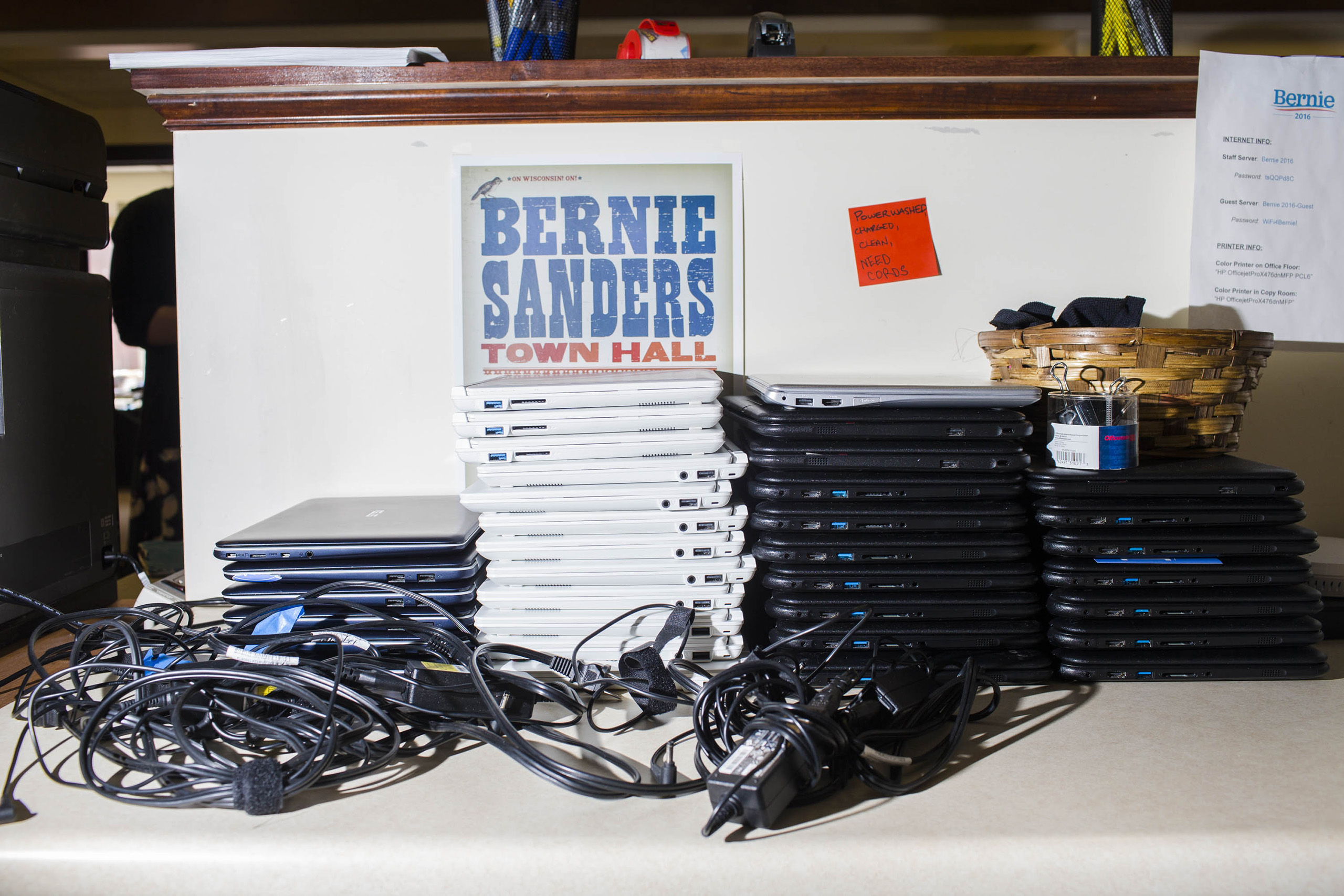 A stack of laptops for workers inside the campaign headquarters of Bernie Sanders on May 23, 2016, in Burlington, VT.