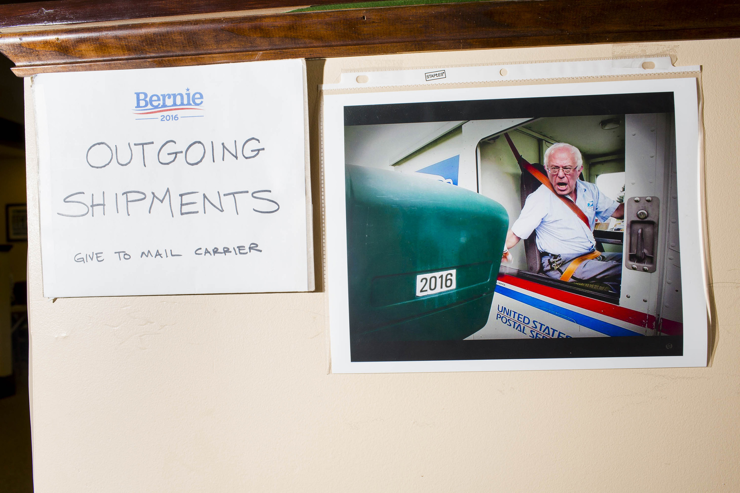 The mail area at the campaign headquarters of Bernie Sanders on May 23, 2016, in Burlington, VT.