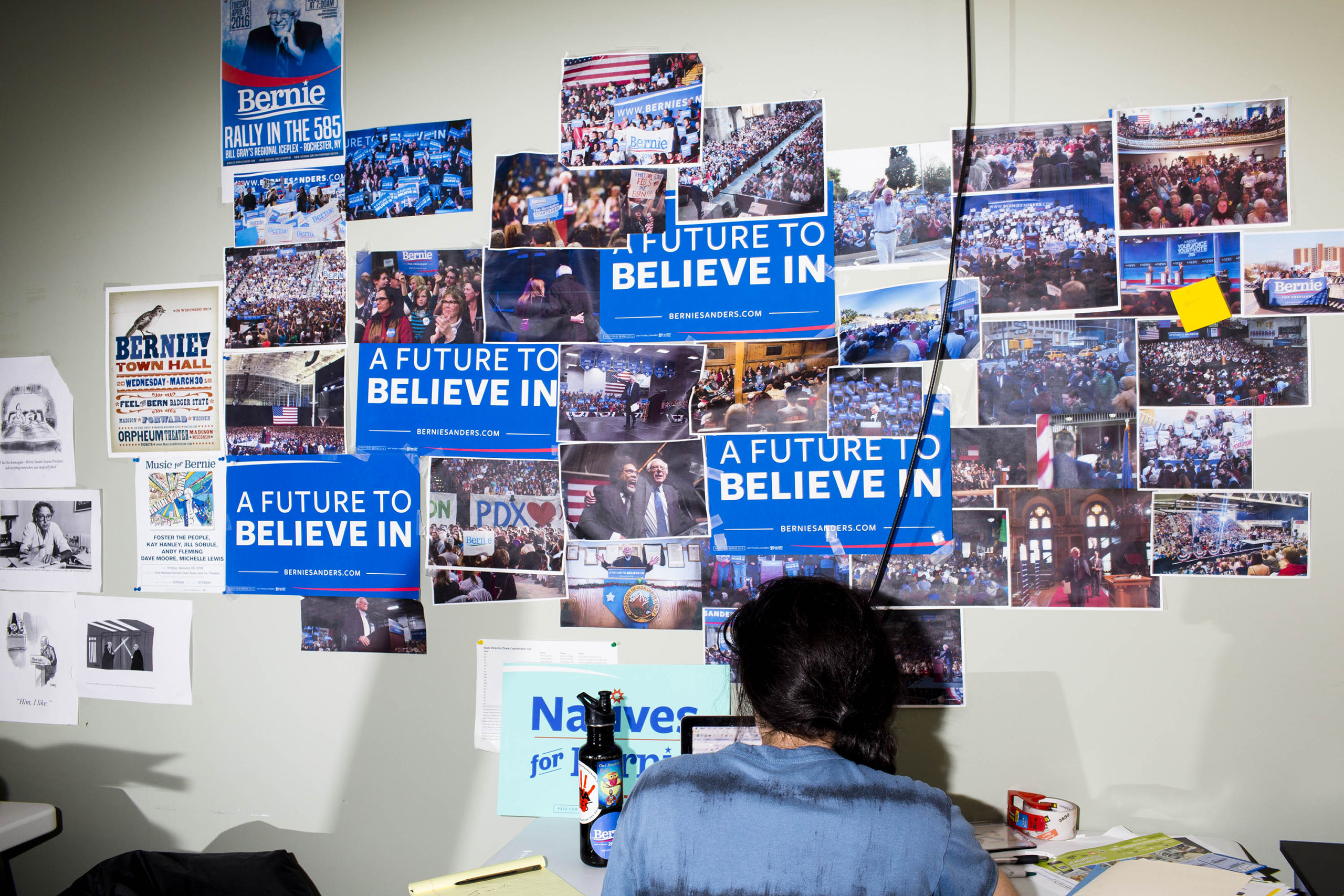 A worker at the campaign headquarters of Bernie Sanders on May 23, 2016, in Burlington, VT.