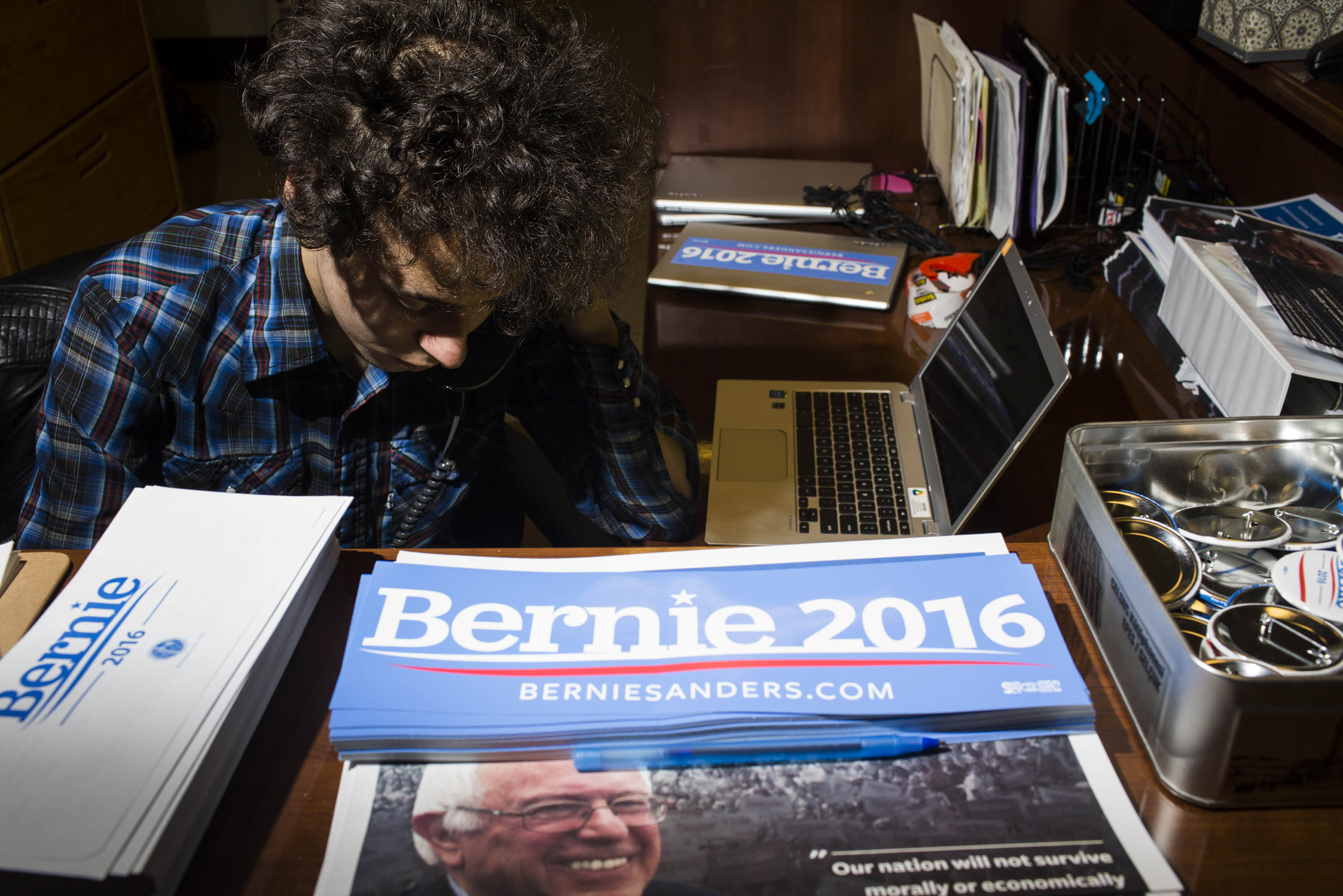 Merchandise on the reception desk at the campaign headquarters of Bernie Sanders on May 23, 2016, in Burlington, VT.