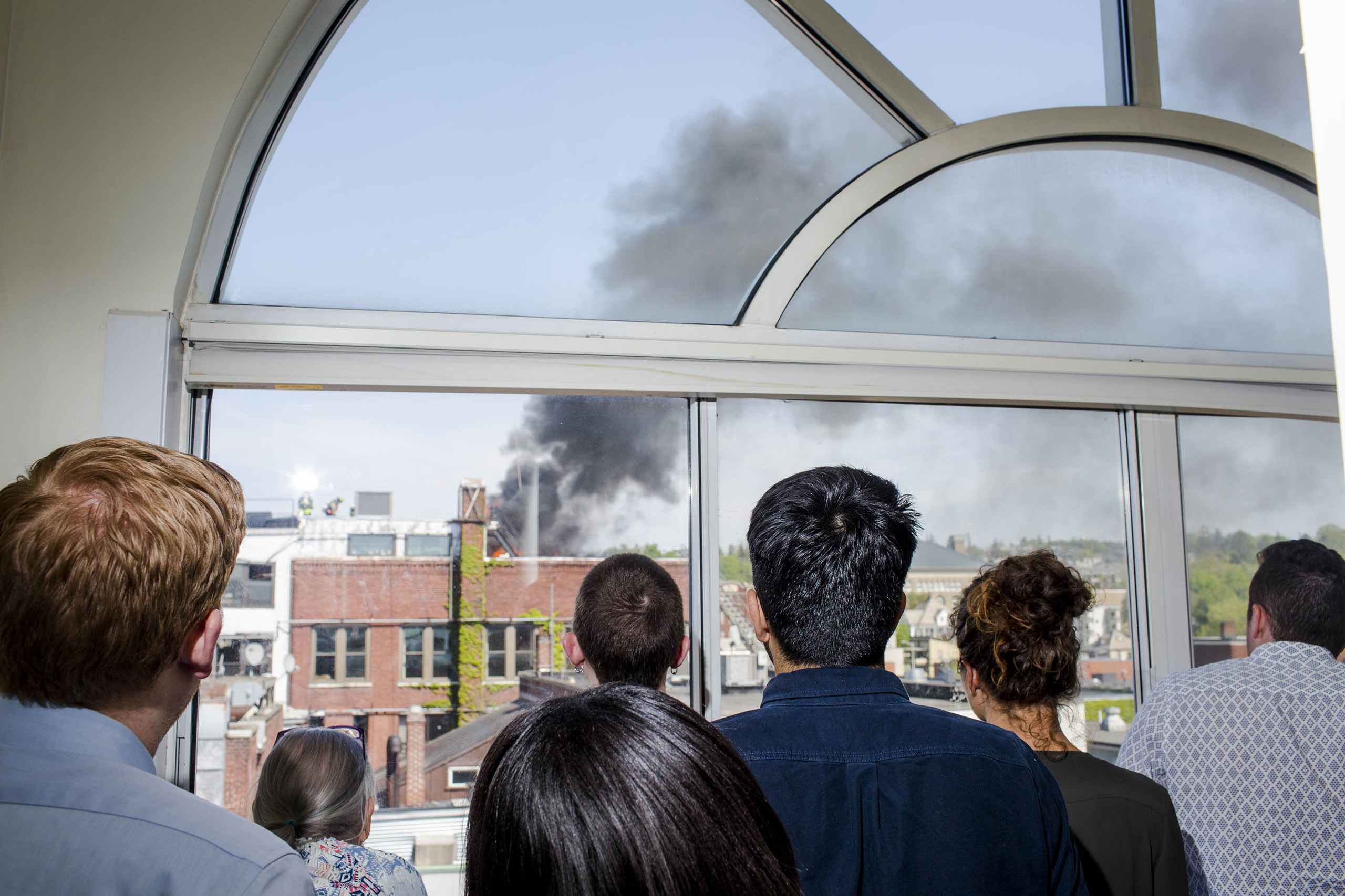 A fire near the campaign headquarters of Bernie Sanders on May 23, 2016, in Burlington, VT.