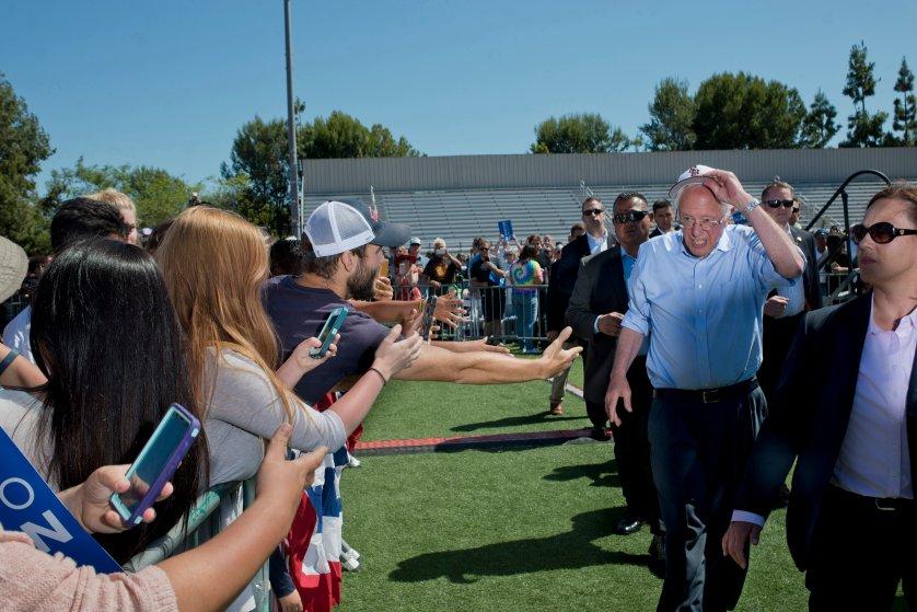 Bernie Sanders political rally at Rancho Buena Vista High School Stadium.