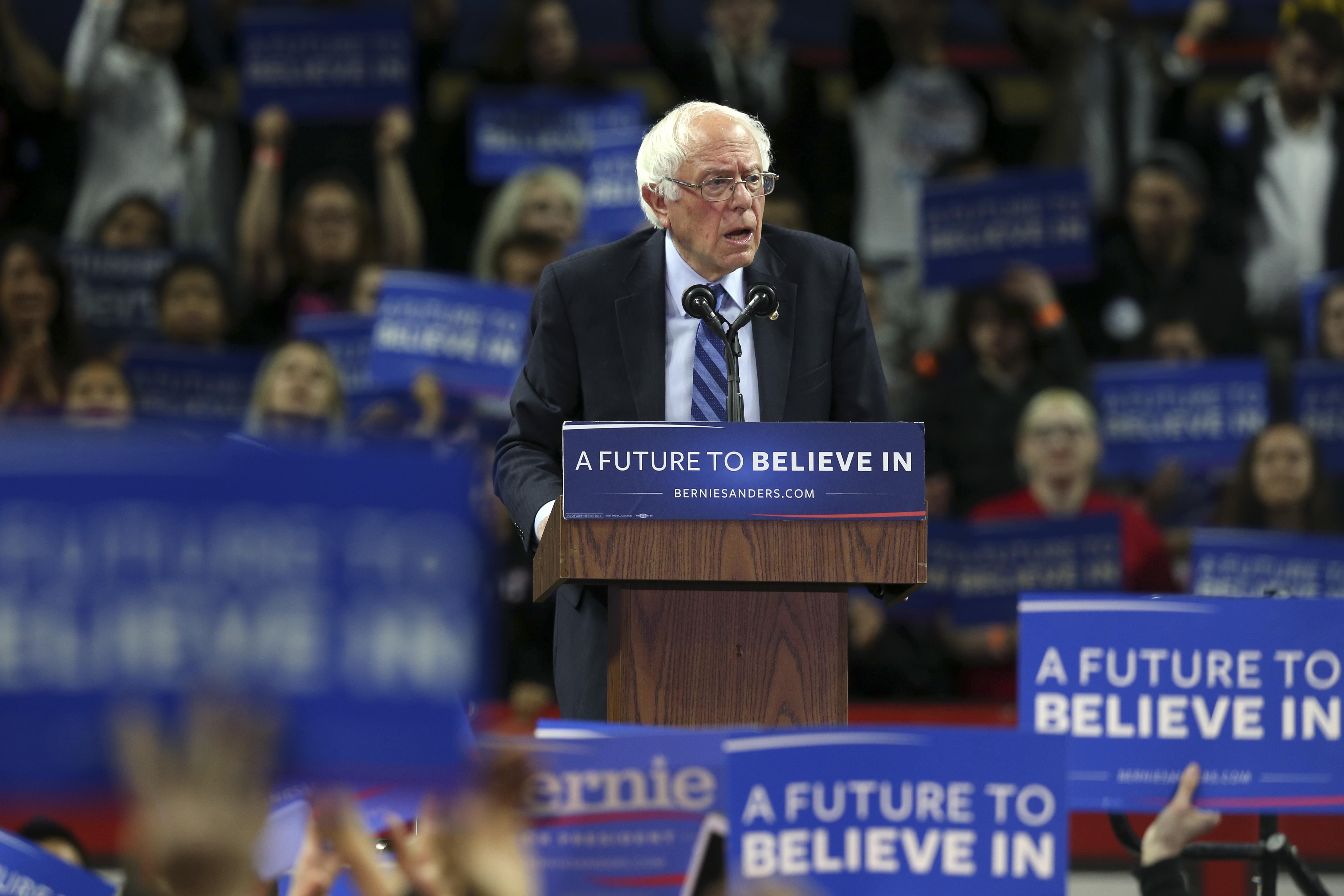 Bernie Sanders speaks at a campaign rally in Piscataway, N.J. on May 8, 2016.